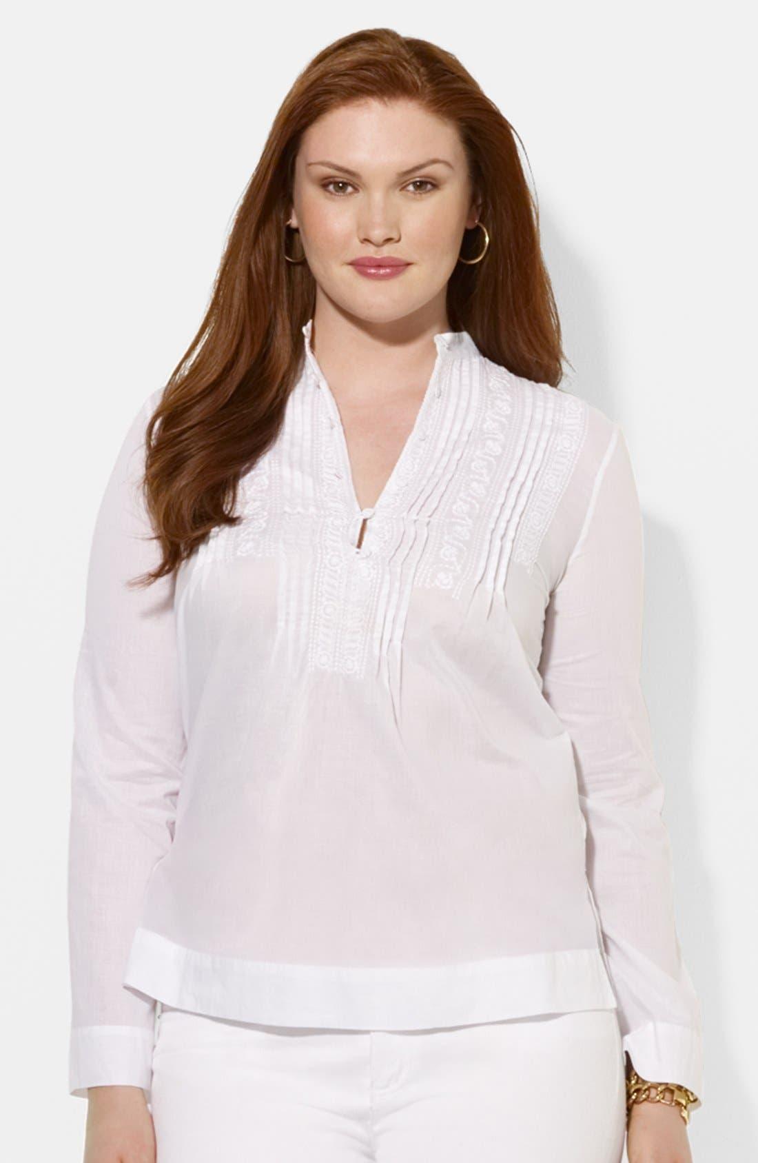 Main Image - Lauren Ralph Lauren Embroidered Blouse (Plus Size)