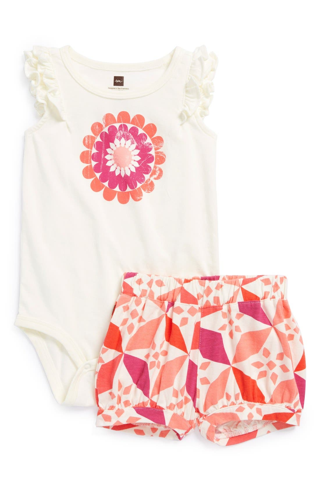 Main Image - Tea Collection 'Rabat Tile' Flutter Sleeve Bodysuit & Shorts (Baby Girls)