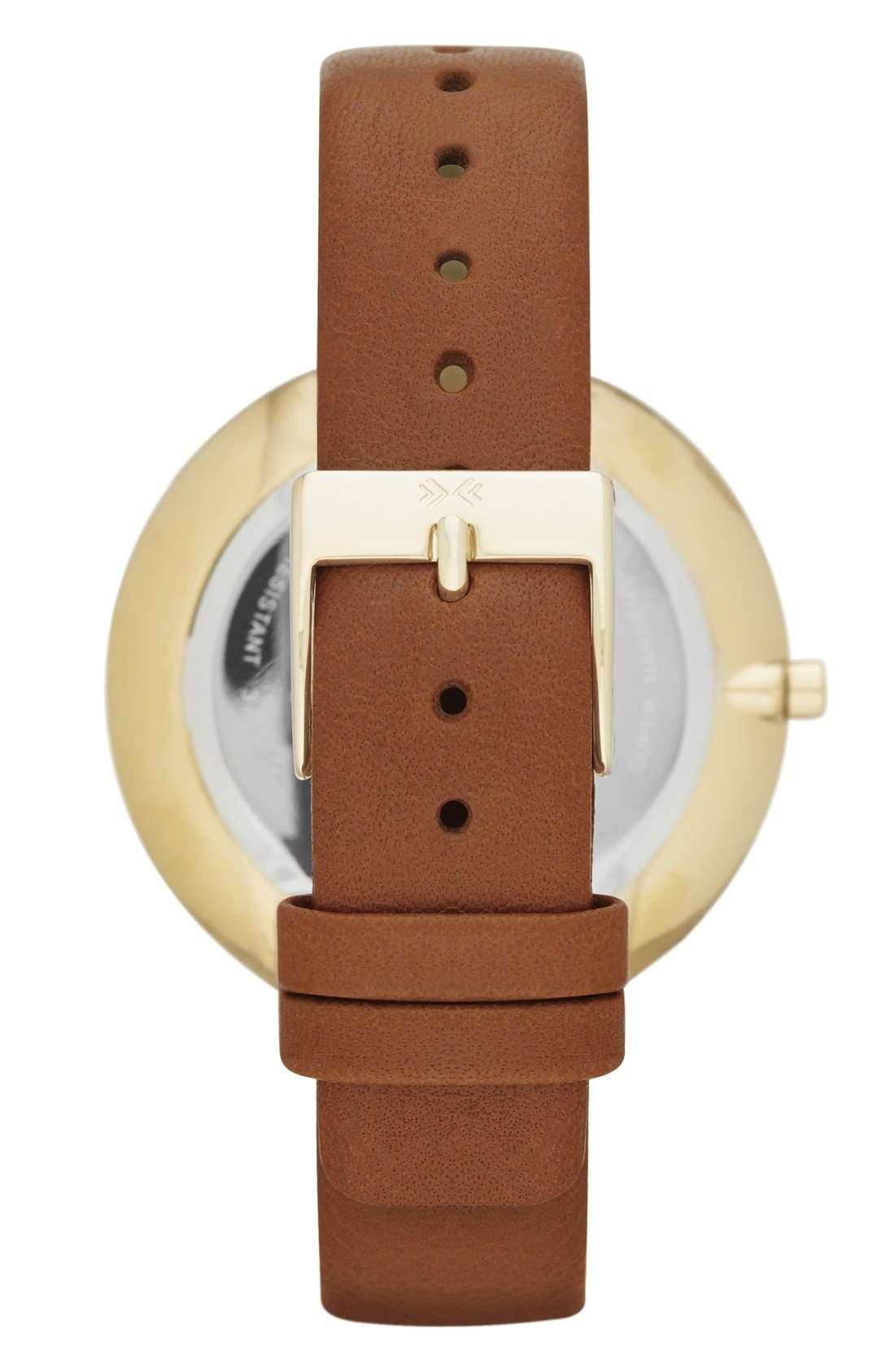 Alternate Image 2  - Skagen 'Gitte' Round Slim Leather Strap Watch, 38mm