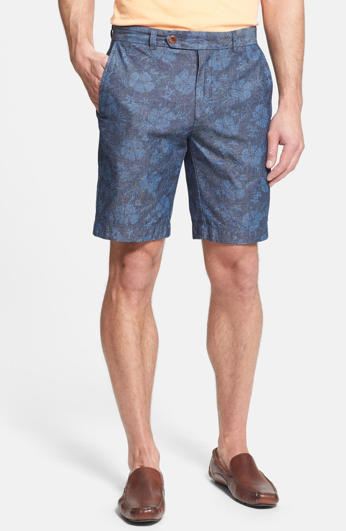 Alternate Image 1 Selected - Brooks Brothers Regular Fit Floral Chambray Shorts