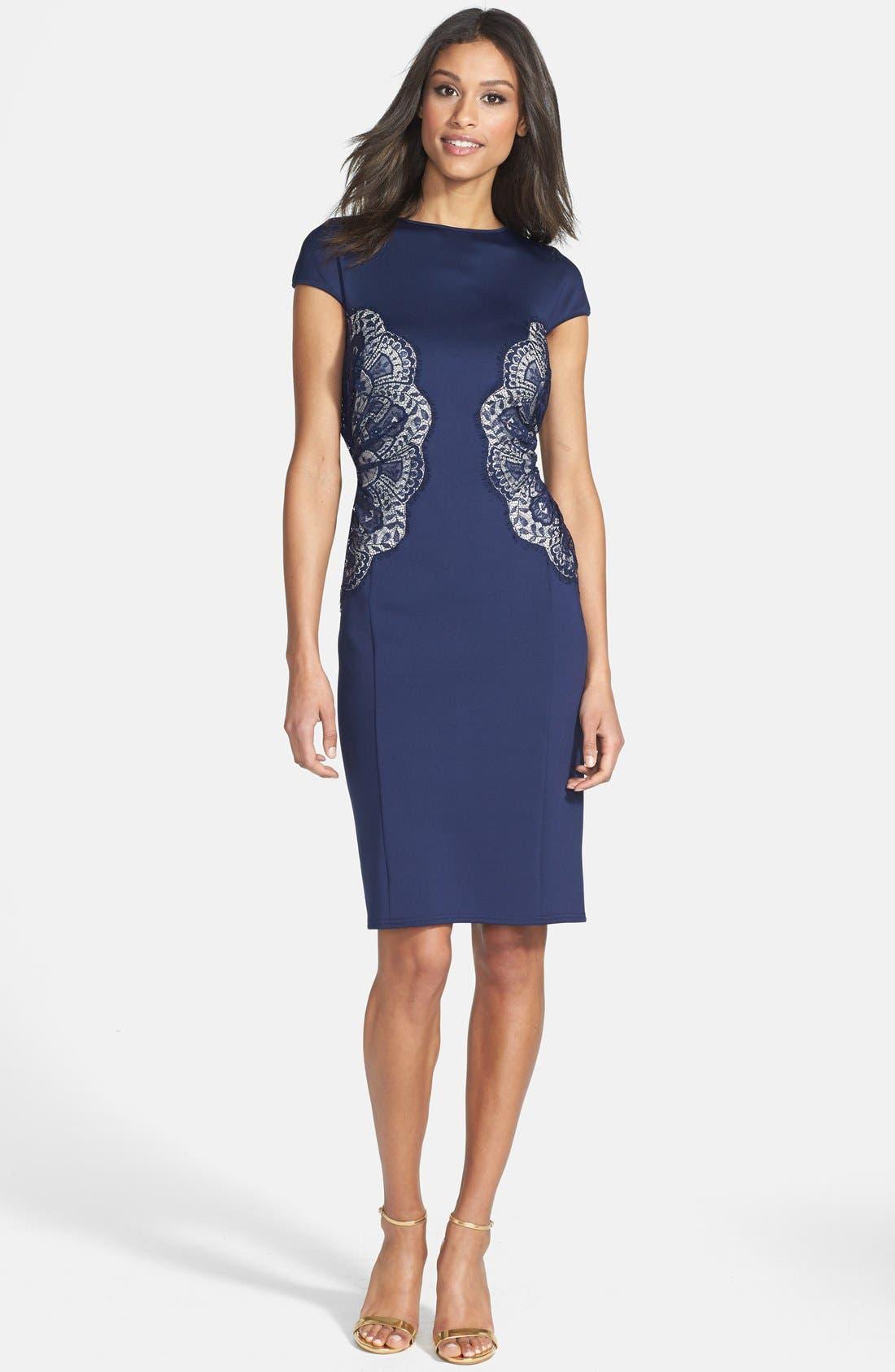 Alternate Image 3  - Tadashi Shoji Lace Inset Jersey Dress