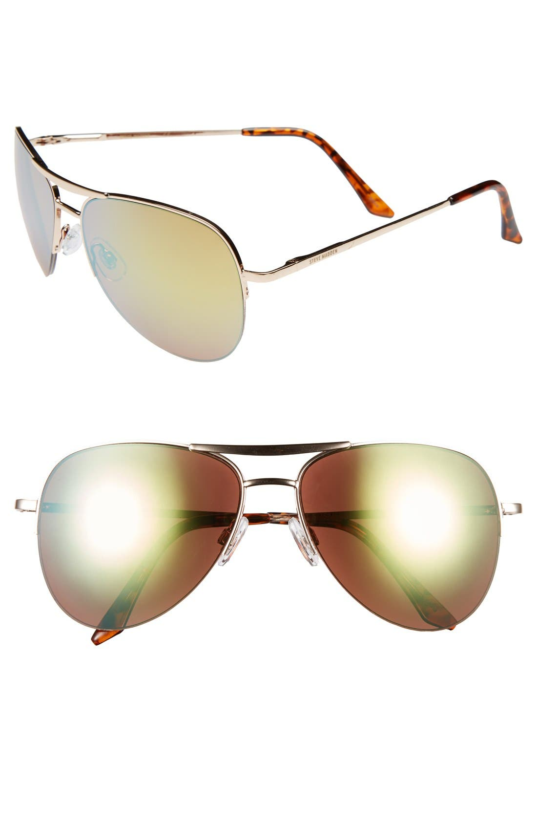 Main Image - Steve Madden Semi Rimless 55mm Aviator Sunglasses
