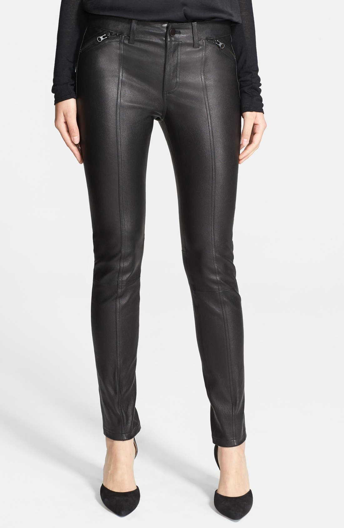 Alternate Image 1 Selected - Vince Lambskin Leather Zip Detail Leggings