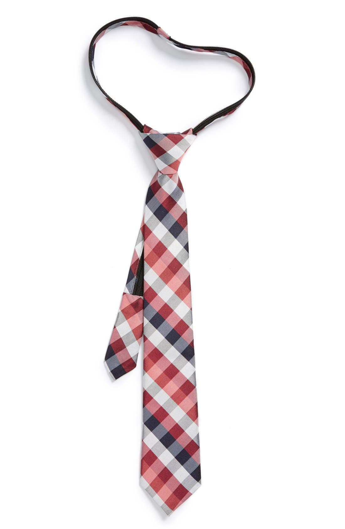 Alternate Image 1 Selected - Nordstrom Plaid Silk Zipper Tie (Big Boys)