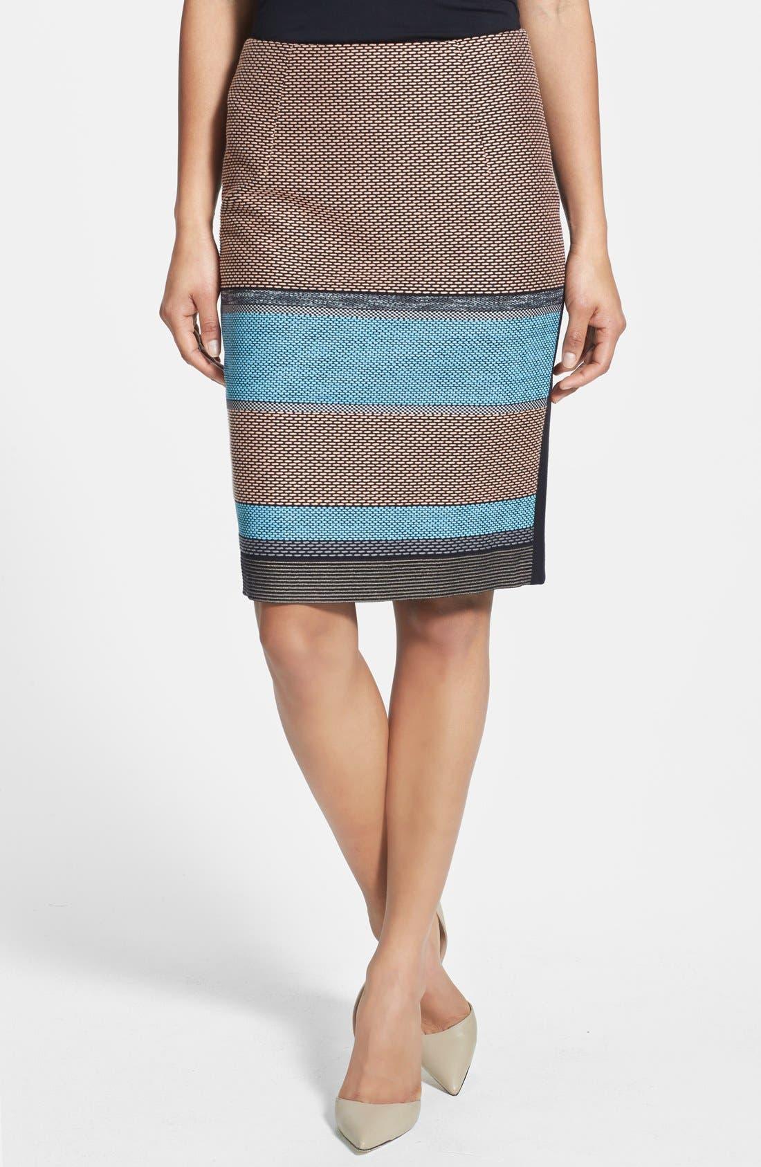 Alternate Image 1 Selected - BOSS 'Vilina1' Stripe Front Skirt