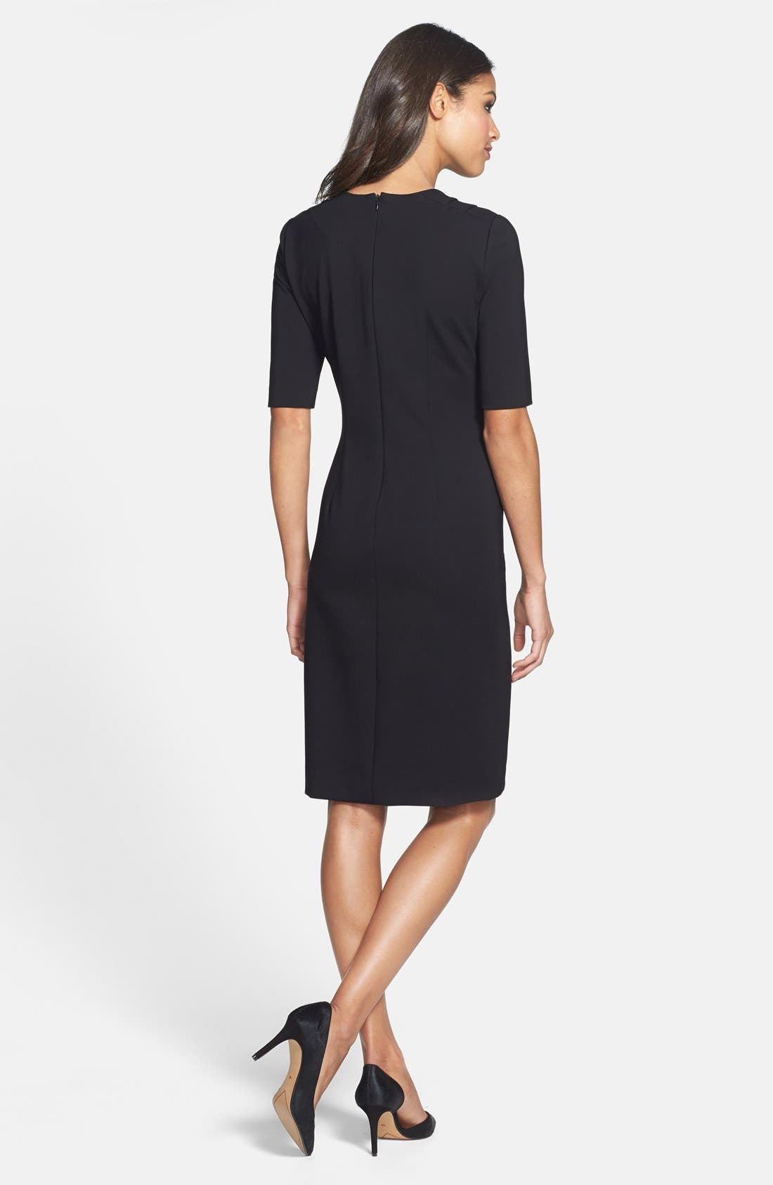 Alternate Image 2  - Taylor Dresses Pintuck Detail Ponte Sheath Dress