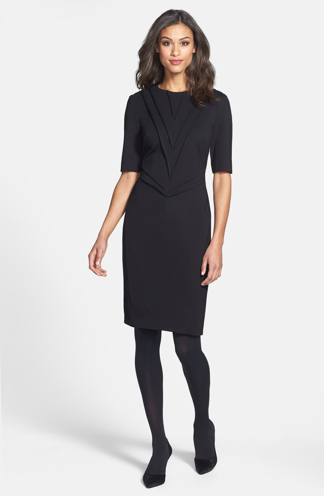 Alternate Image 5  - Taylor Dresses Pintuck Detail Ponte Sheath Dress
