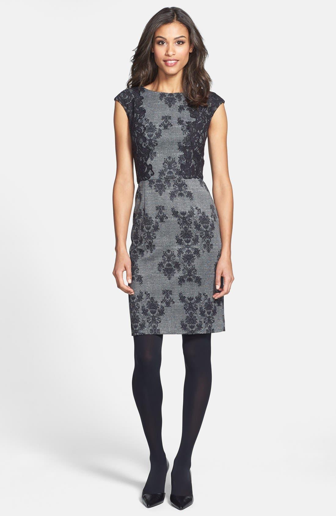 Alternate Image 5  - Adrianna Papell Placed & Print Lace Sheath Dress (Regular & Petite)