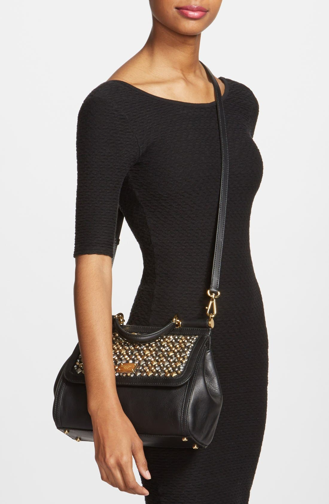 Alternate Image 2  - Dolce&Gabbana 'Miss Sicily - Mini' Studded Top Handle Leather Satchel