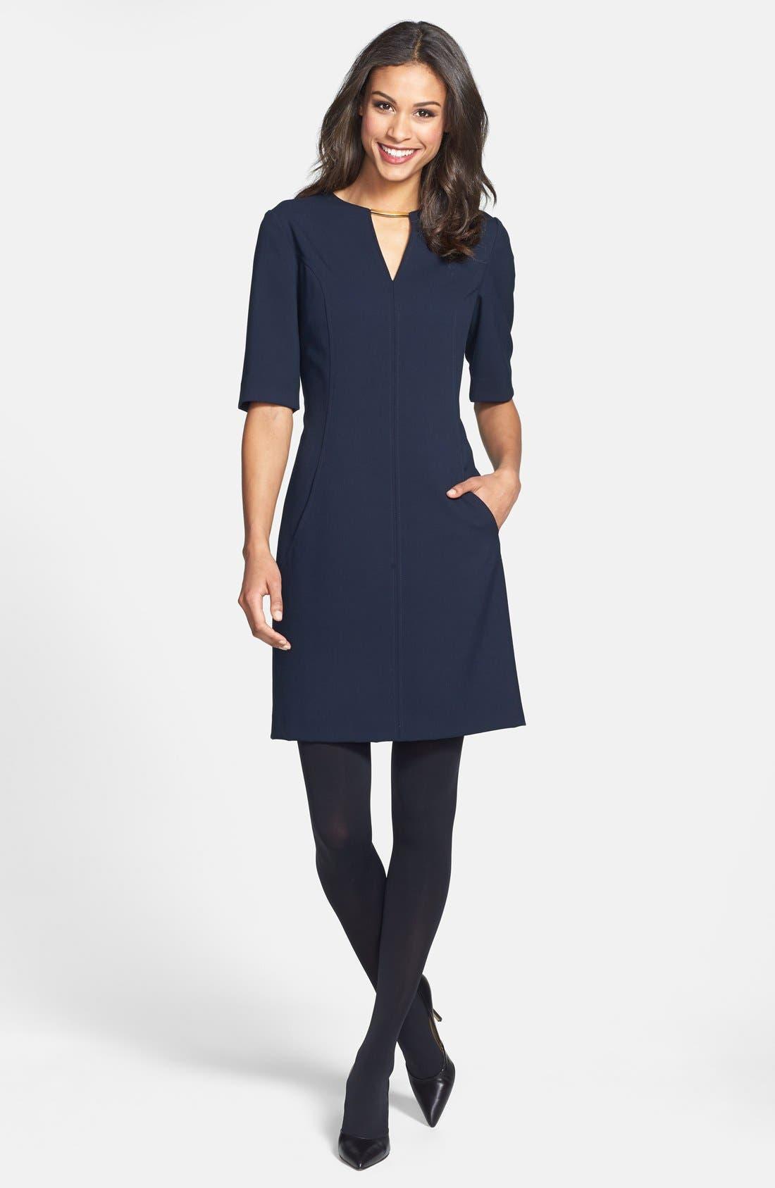 Alternate Image 3  - Tahari V-Neck Shift Dress (Regular & Petite) (Online Only)