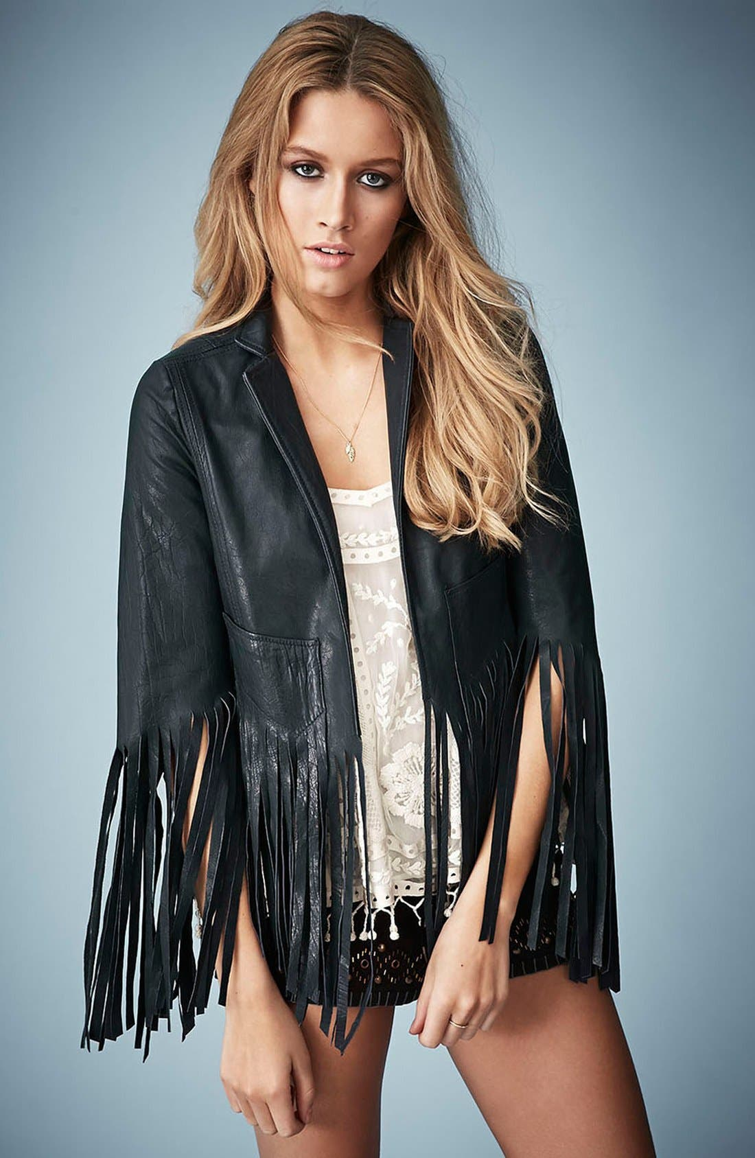 Main Image - Kate Moss for Topshop Fringed Leather Jacket