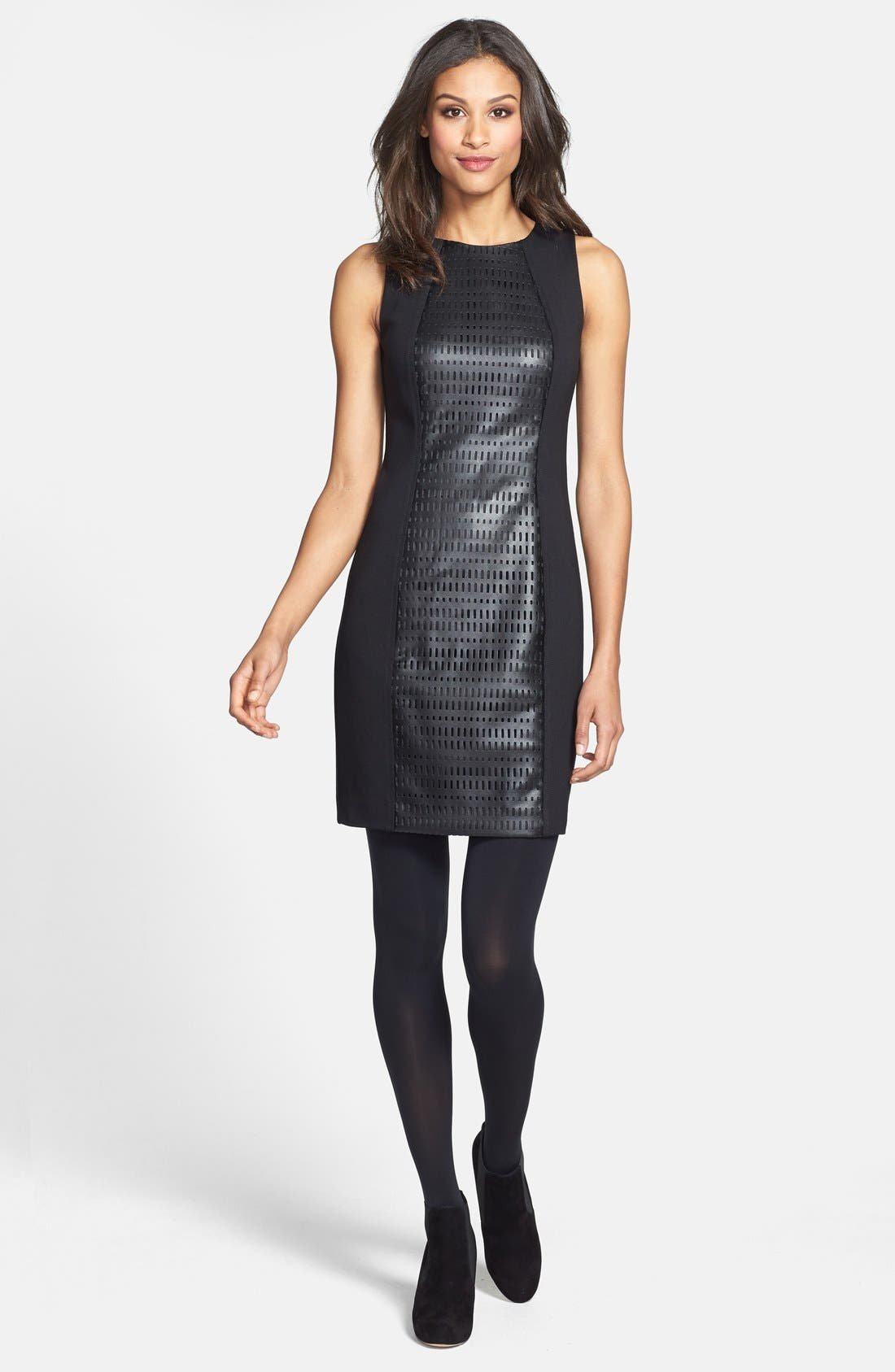 Alternate Image 5  - Trina Turk Laser Cut Faux Leather & Ponte Sheath Dress