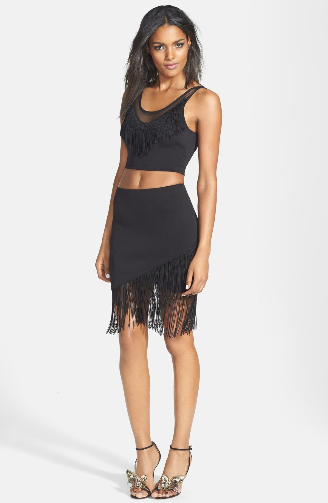 Alternate Image 2  - ASTR Fringed Faux Wrap Skirt