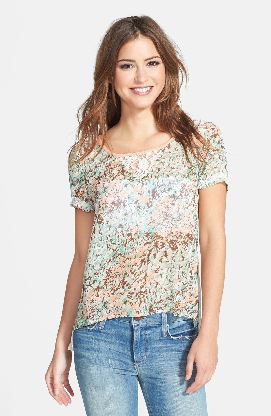 Main Image - Miss Me Lace Back Floral Print Top