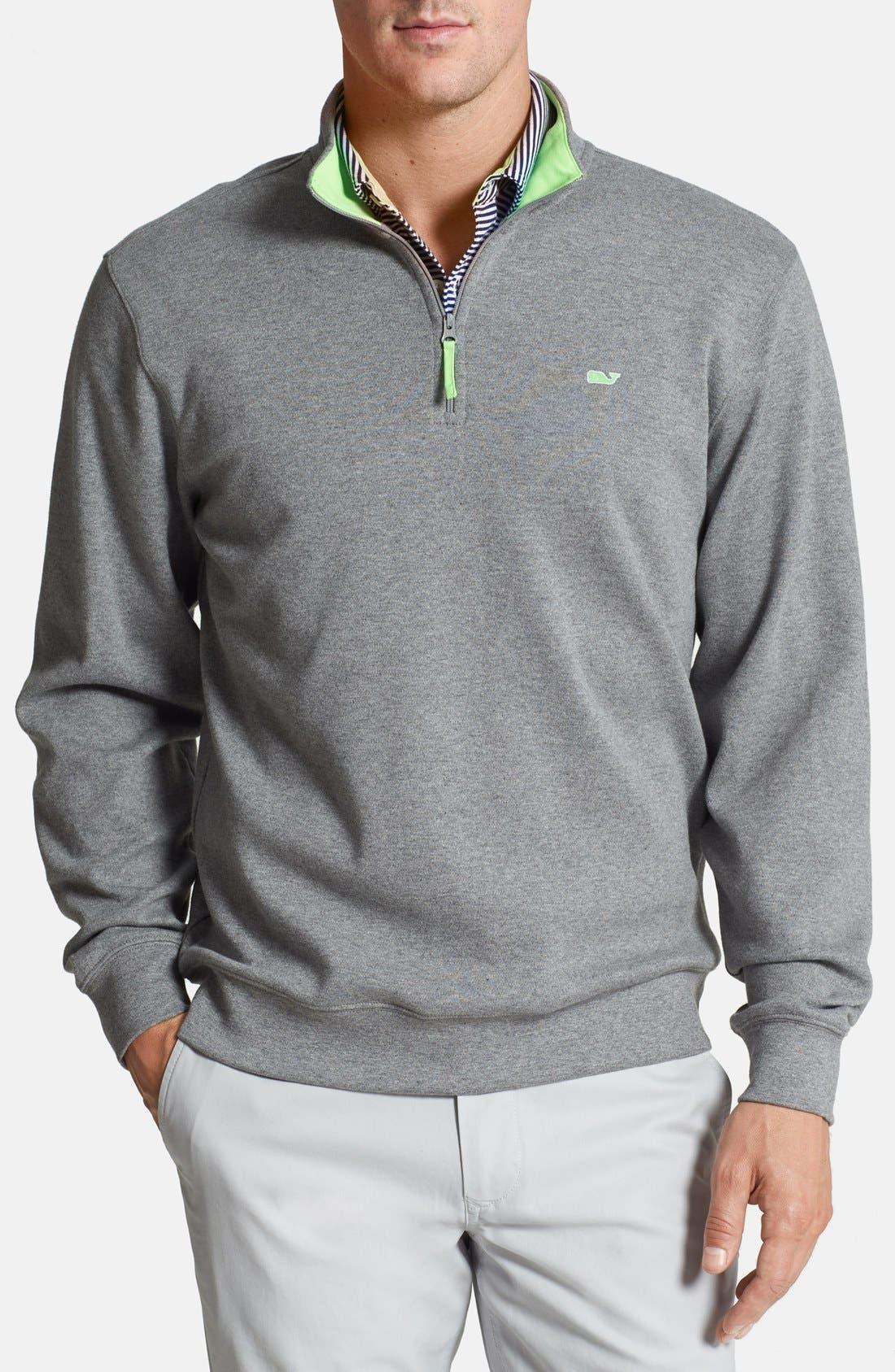 Main Image - Vineyard Vines Quarter Zip Cotton Jersey Sweater