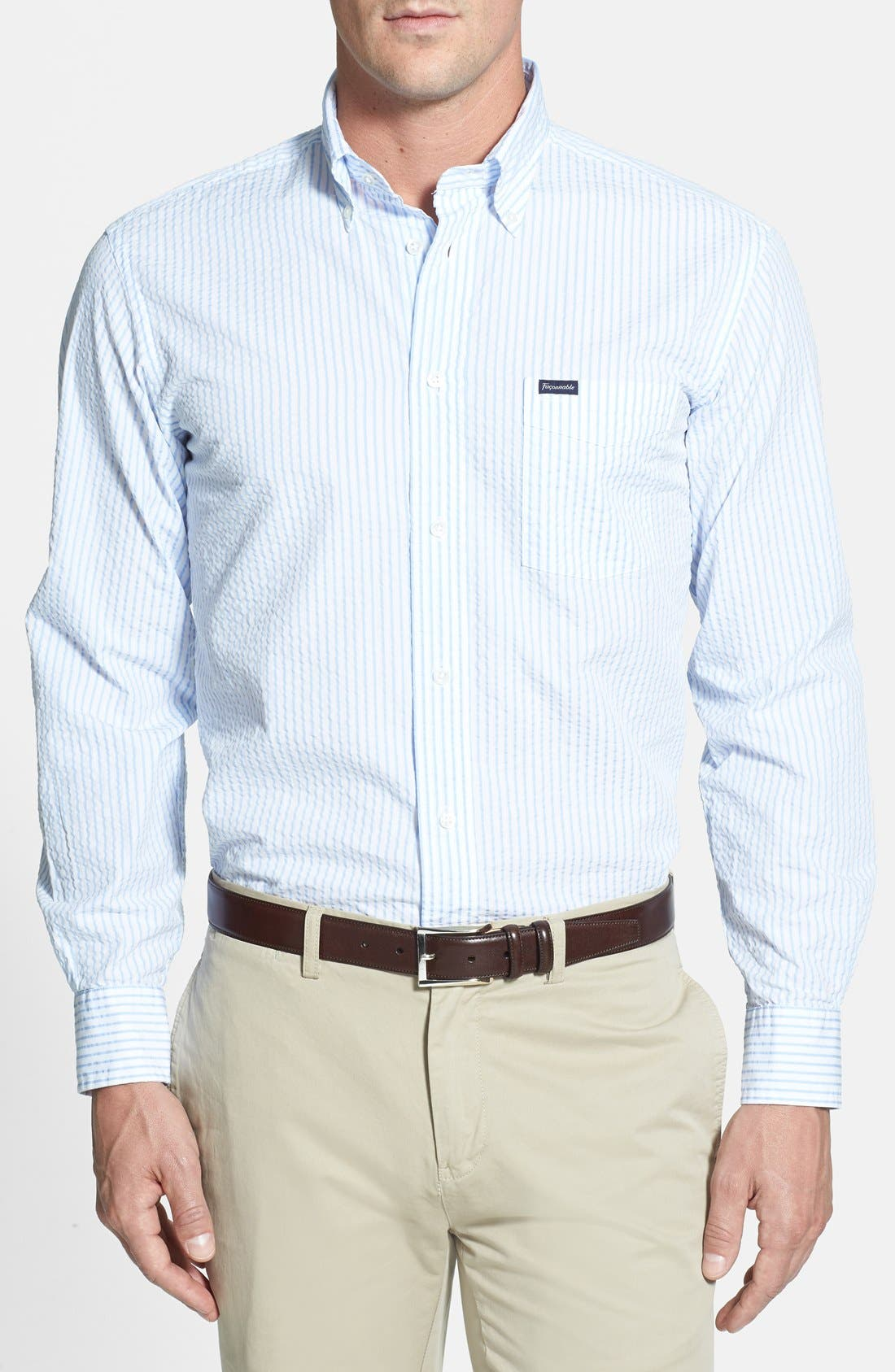 Alternate Image 1 Selected - Façonnable Classique Fit Seersucker Sport Shirt (Tall)