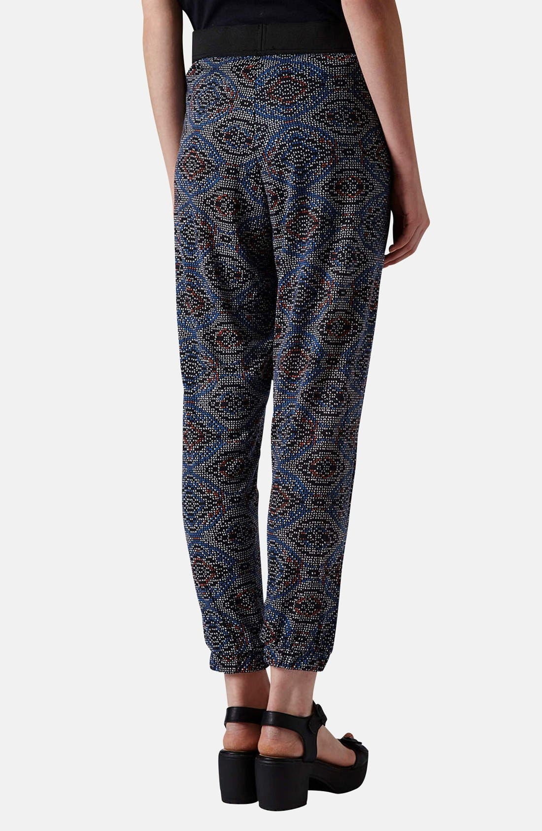 Alternate Image 2  - Topshop Tile Print Jersey Pants