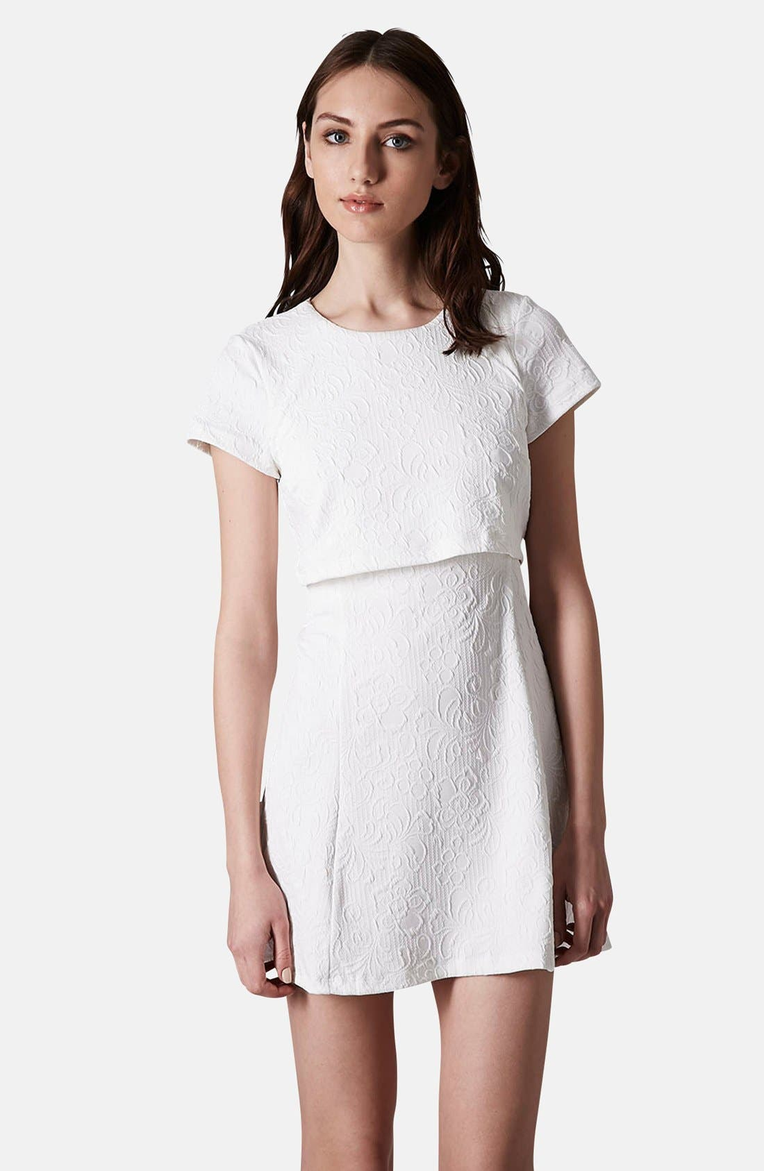 Main Image - Topshop Jacquard Crop Overlay Skater Dress