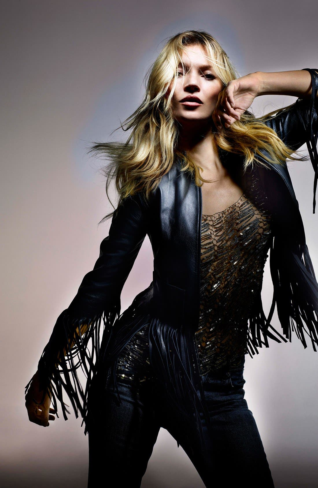 Alternate Image 6  - Kate Moss for Topshop Fringed Leather Jacket