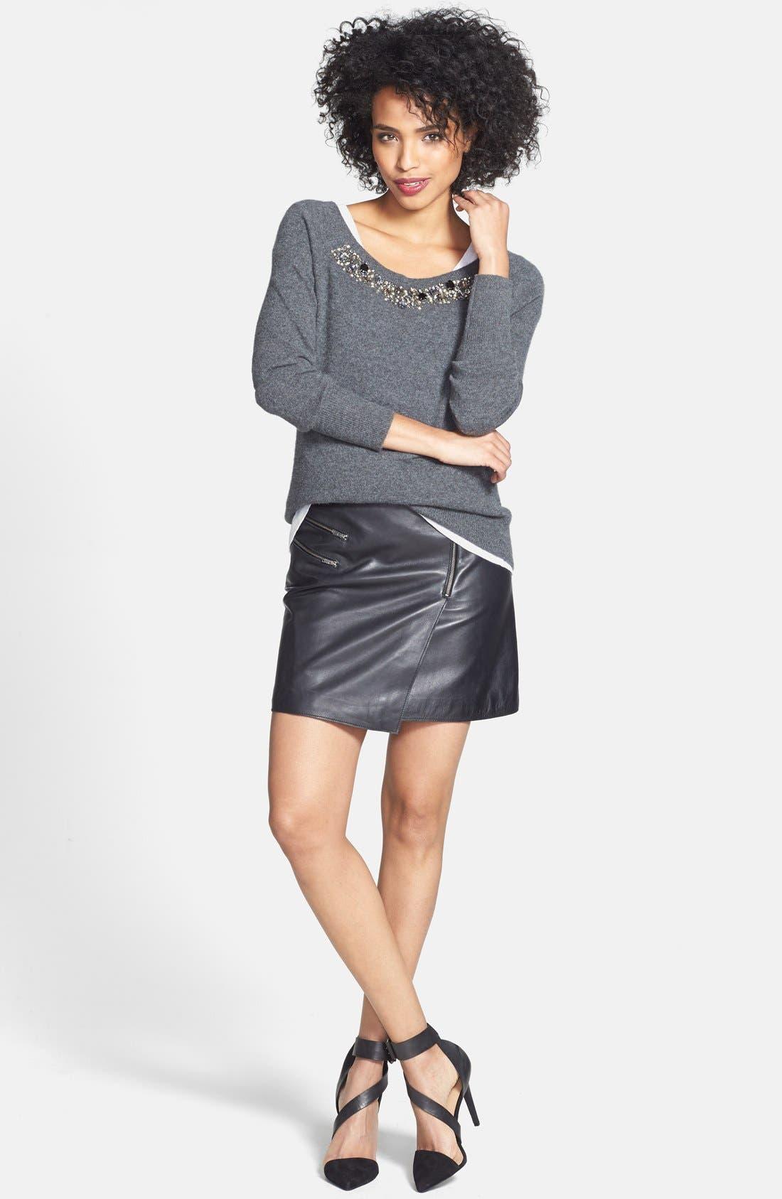 Alternate Image 3  - Halogen® Embellished Neck Cashmere Sweater