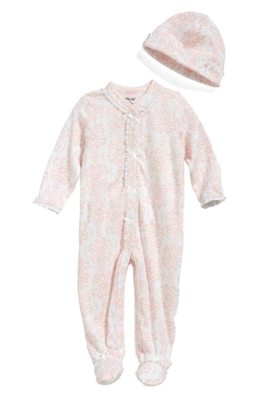 Main Image - Little Me 'Damask' One-Piece & Hat (Baby Girls)