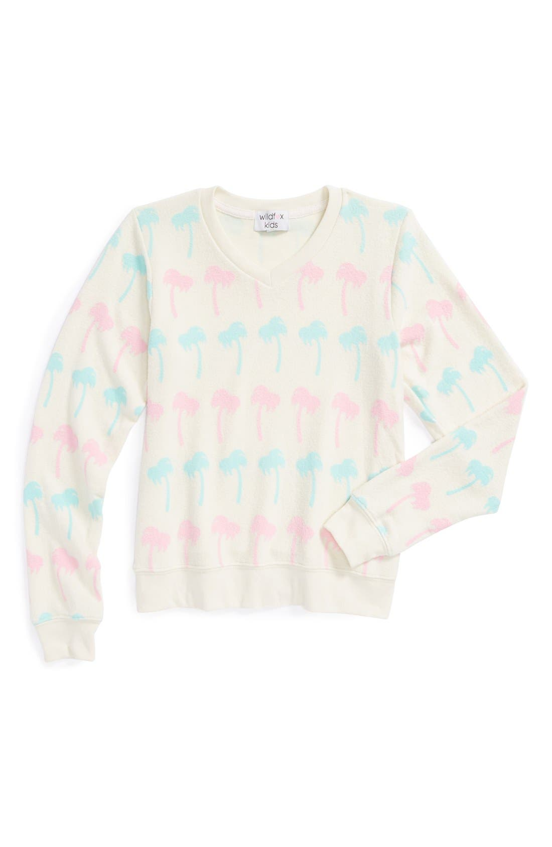 Alternate Image 1 Selected - Wildfox 'Pastel Palms' V-Neck Sweatshirt (Big Girls)
