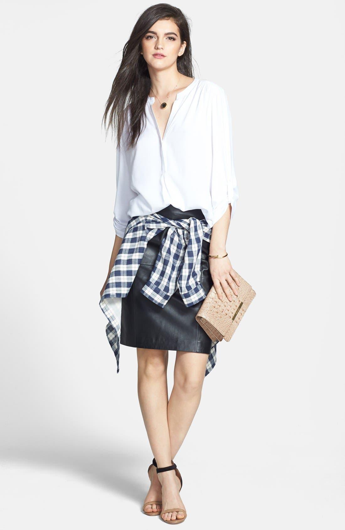 Alternate Image 6  - Halogen® Leather Panel Pencil Skirt (Online Only)