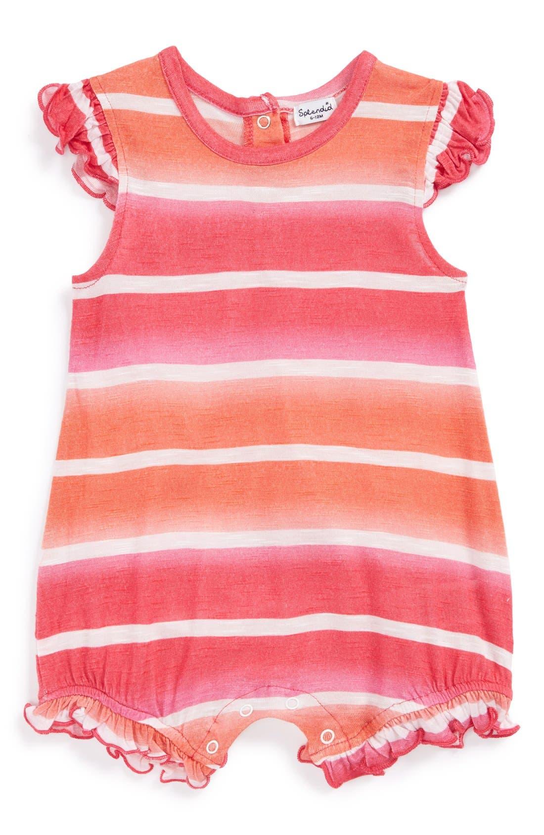 Alternate Image 1 Selected - Splendid Stripe Romper (Baby Girls)
