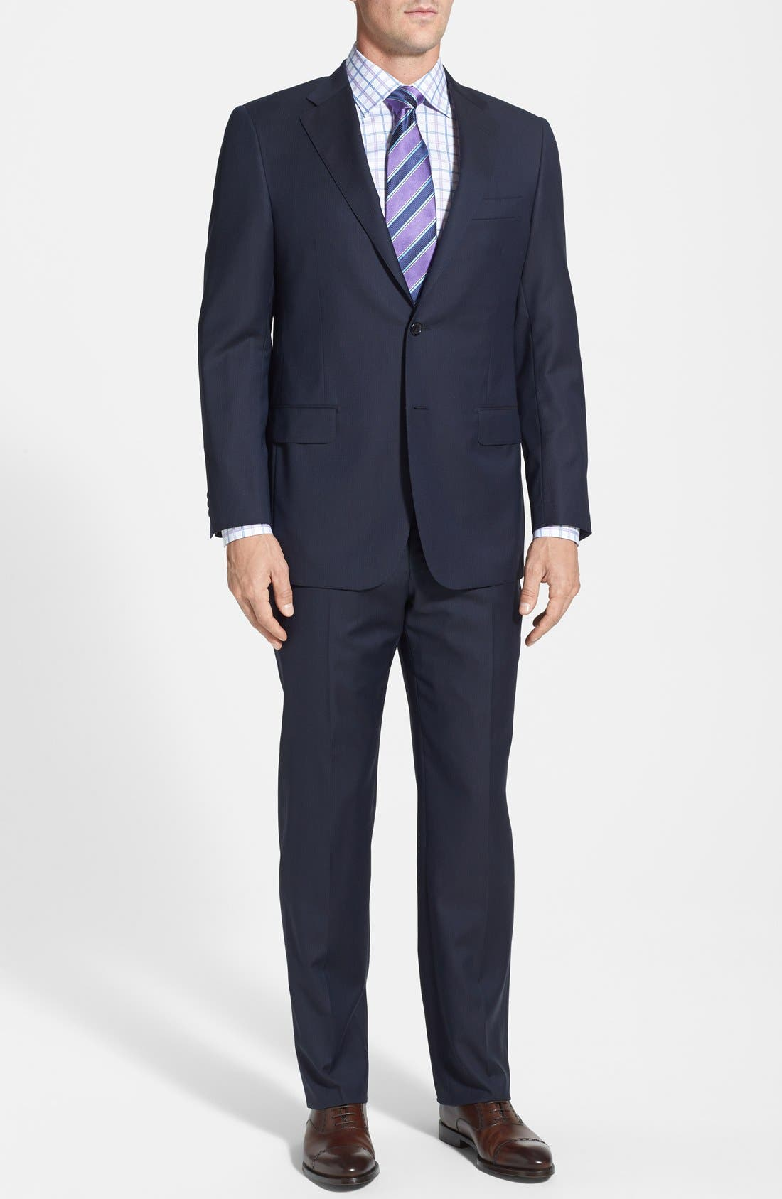 Main Image - Hickey Freeman Classic Fit Navy Stripe Suit