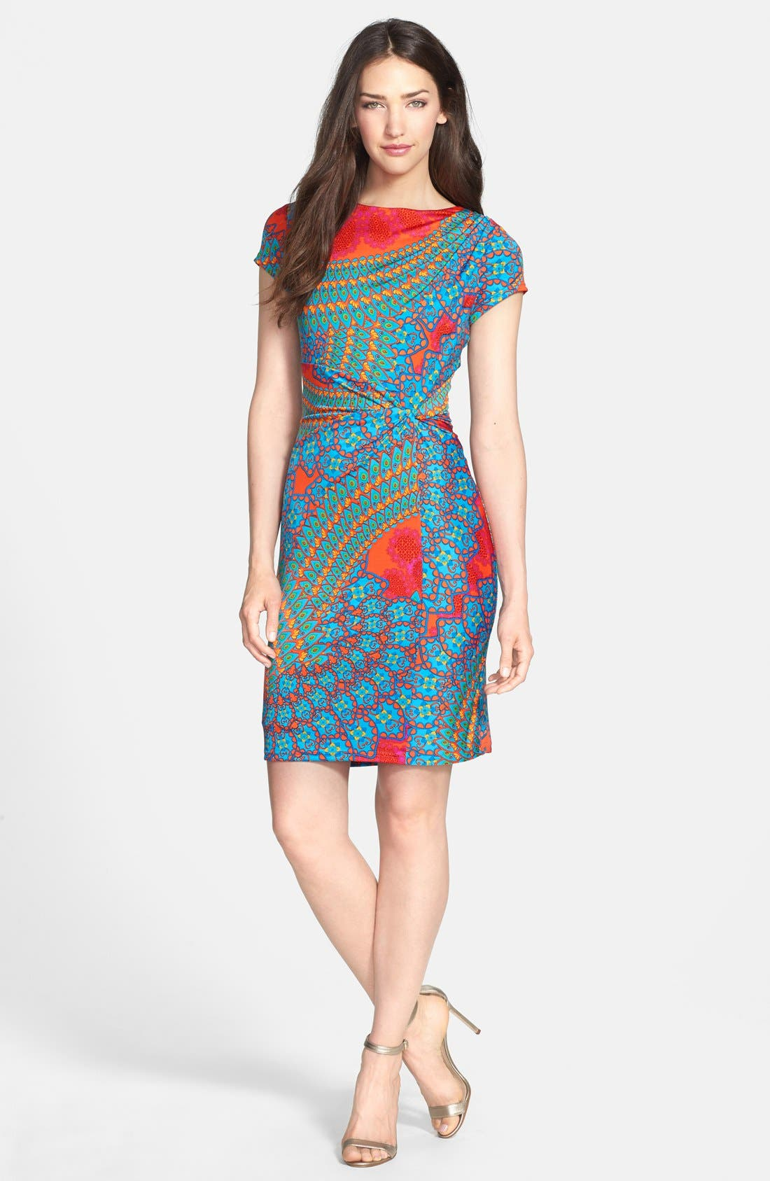 Main Image - Ellen Tracy Printed Cap Sleeve Dress (Regular & Petite)