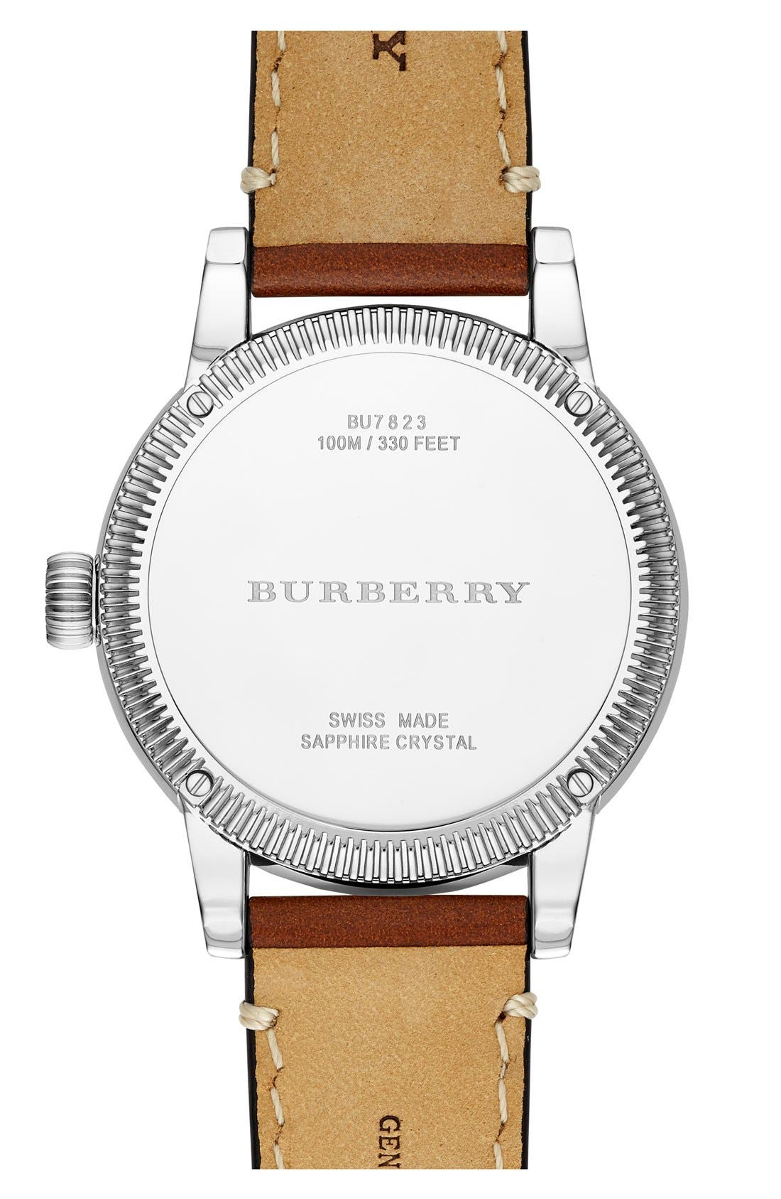 Alternate Image 3  - Burberry Round Leather Strap Watch, 38mm