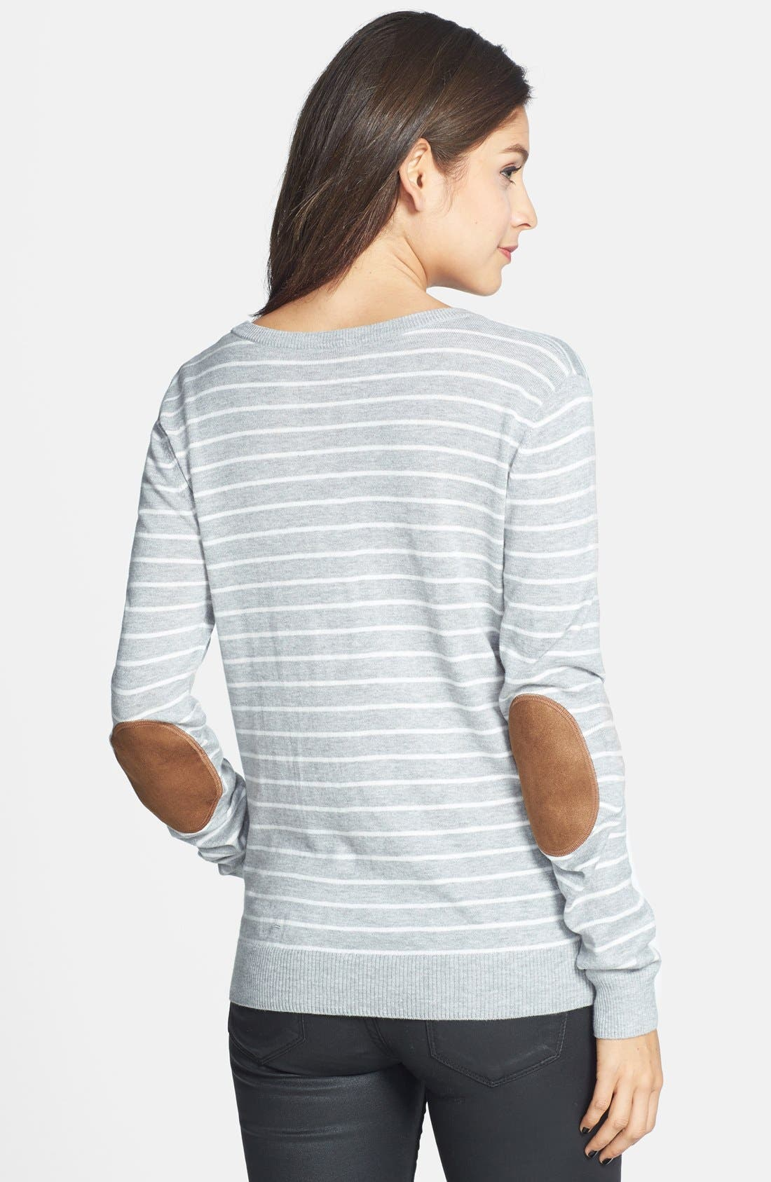 Alternate Image 2  - BP. Stripe Elbow Patch V-Neck Sweater (Juniors)