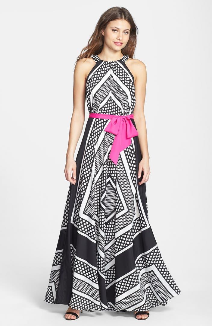 Eliza J Print Crêpe de Chine A-Line Maxi Dress | Nordstrom