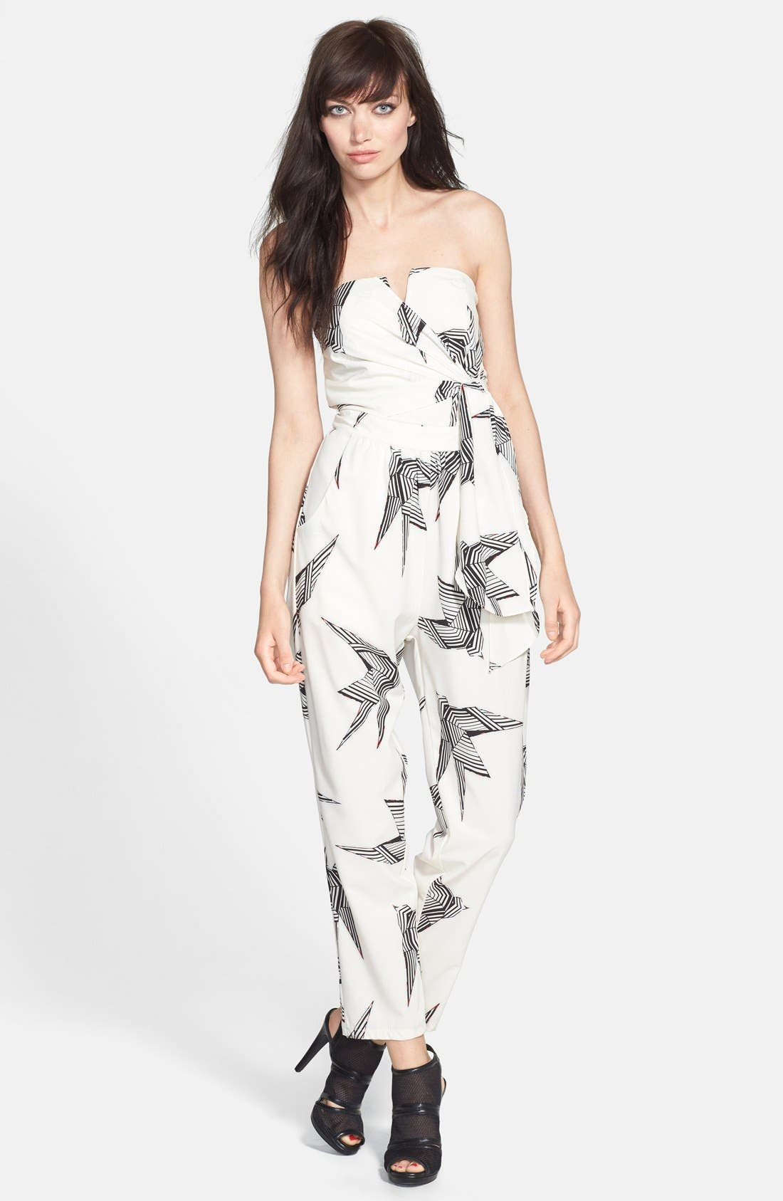 Alternate Image 1 Selected - Rules of Etiquette Print Tie Front Romper