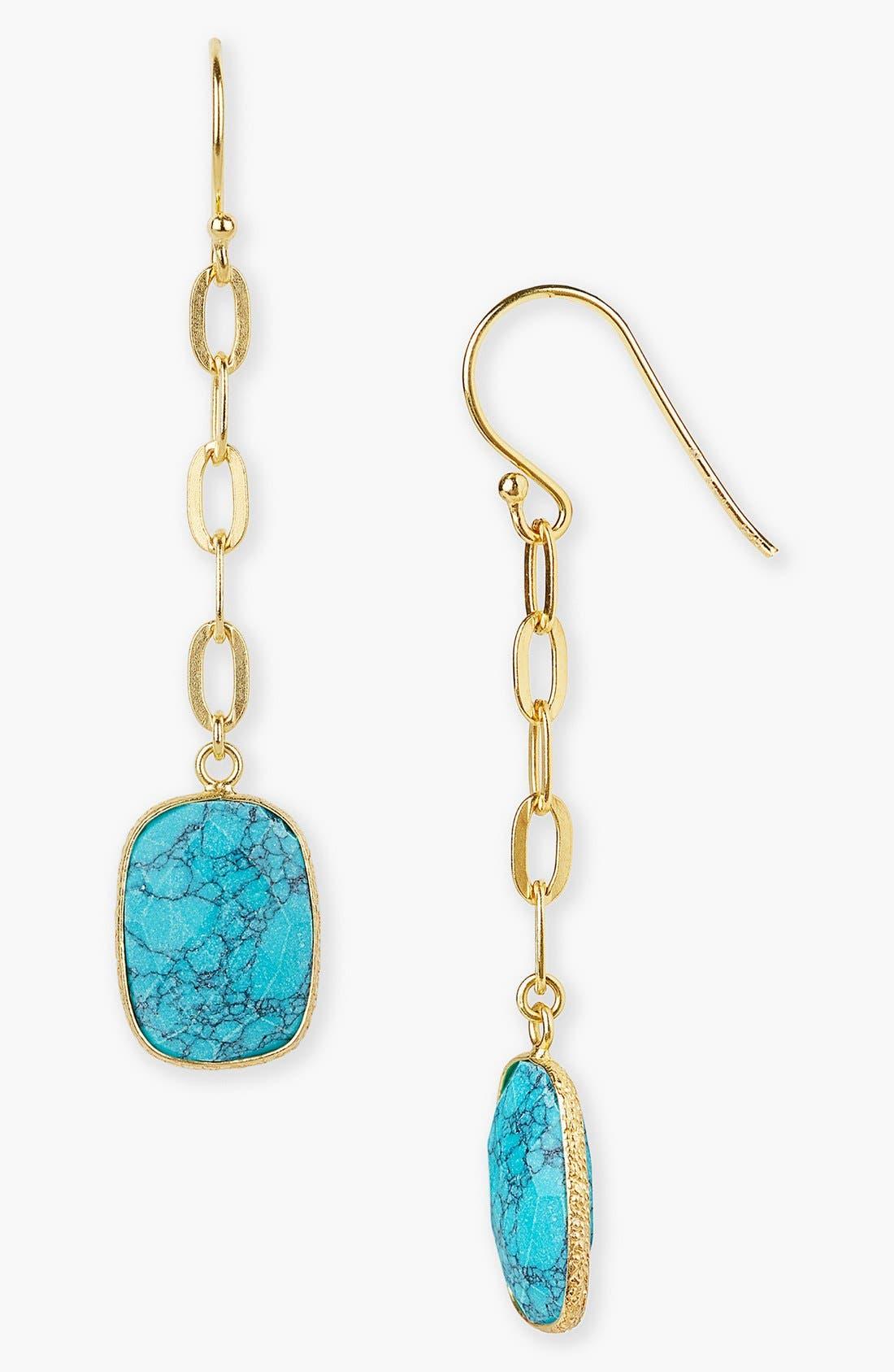 Main Image - Argento Vivo Linear Turquoise Drop Earrings