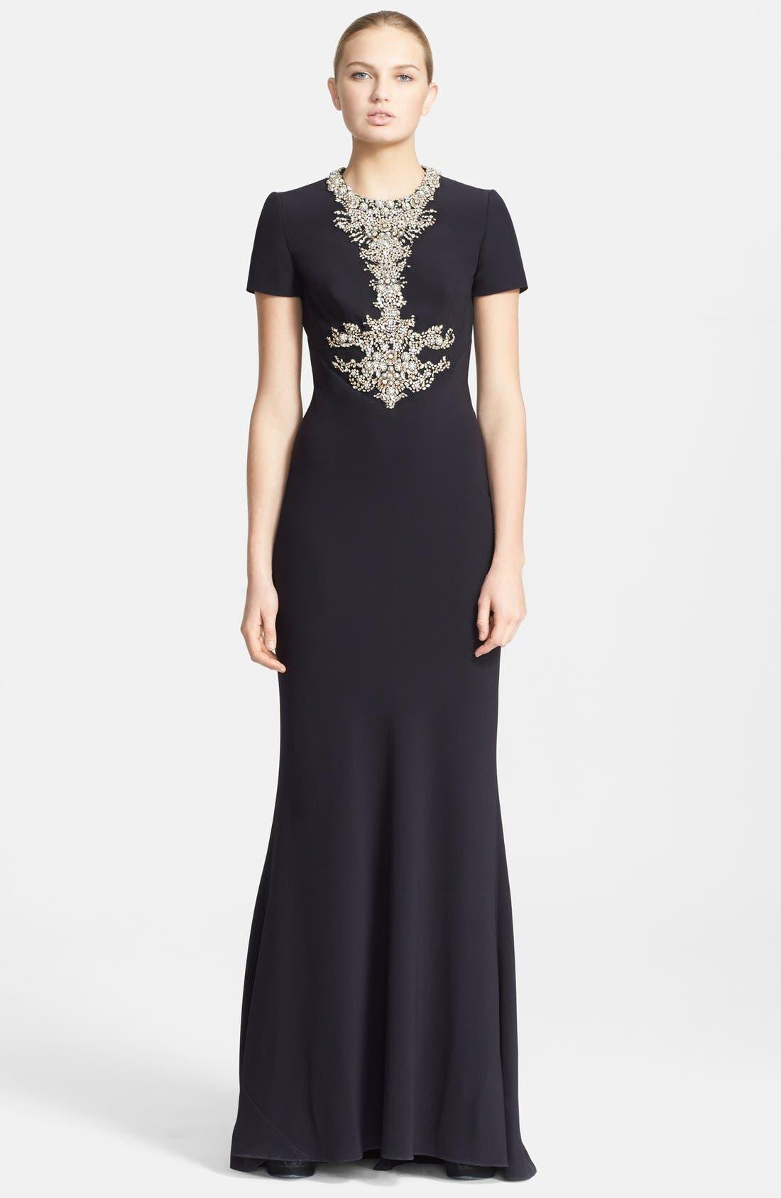 Alternate Image 1 Selected - Alexander McQueen Embellished Crepe Gown