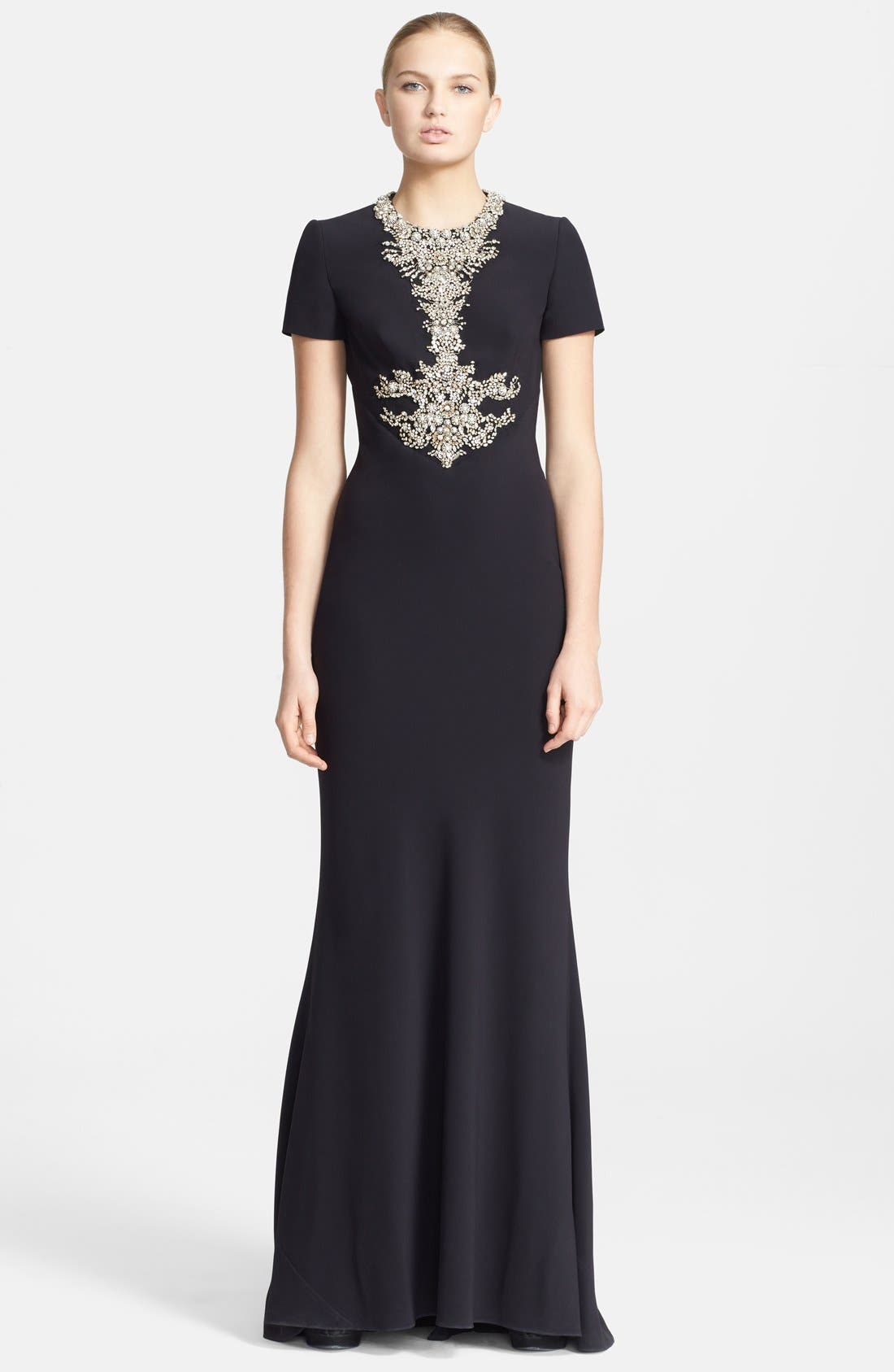 Main Image - Alexander McQueen Embellished Crepe Gown