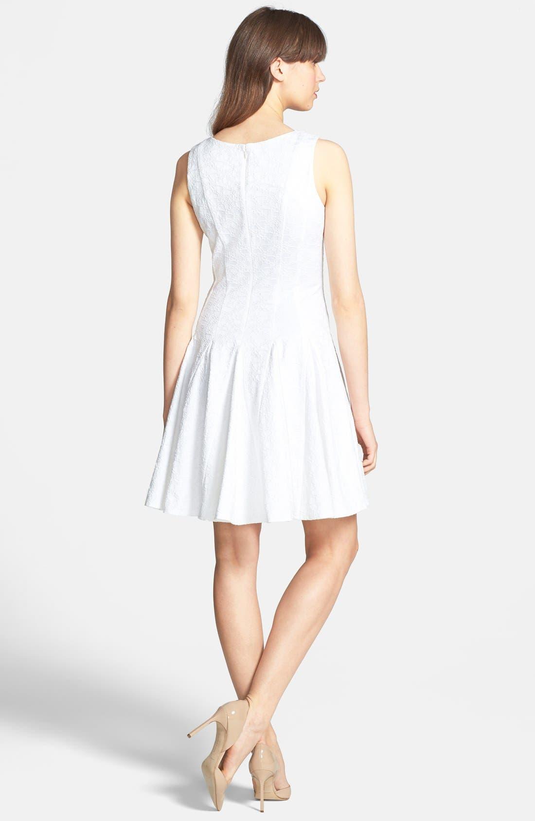Alternate Image 2  - Eliza J Jacquard Cotton Blend Fit & Flare Dress