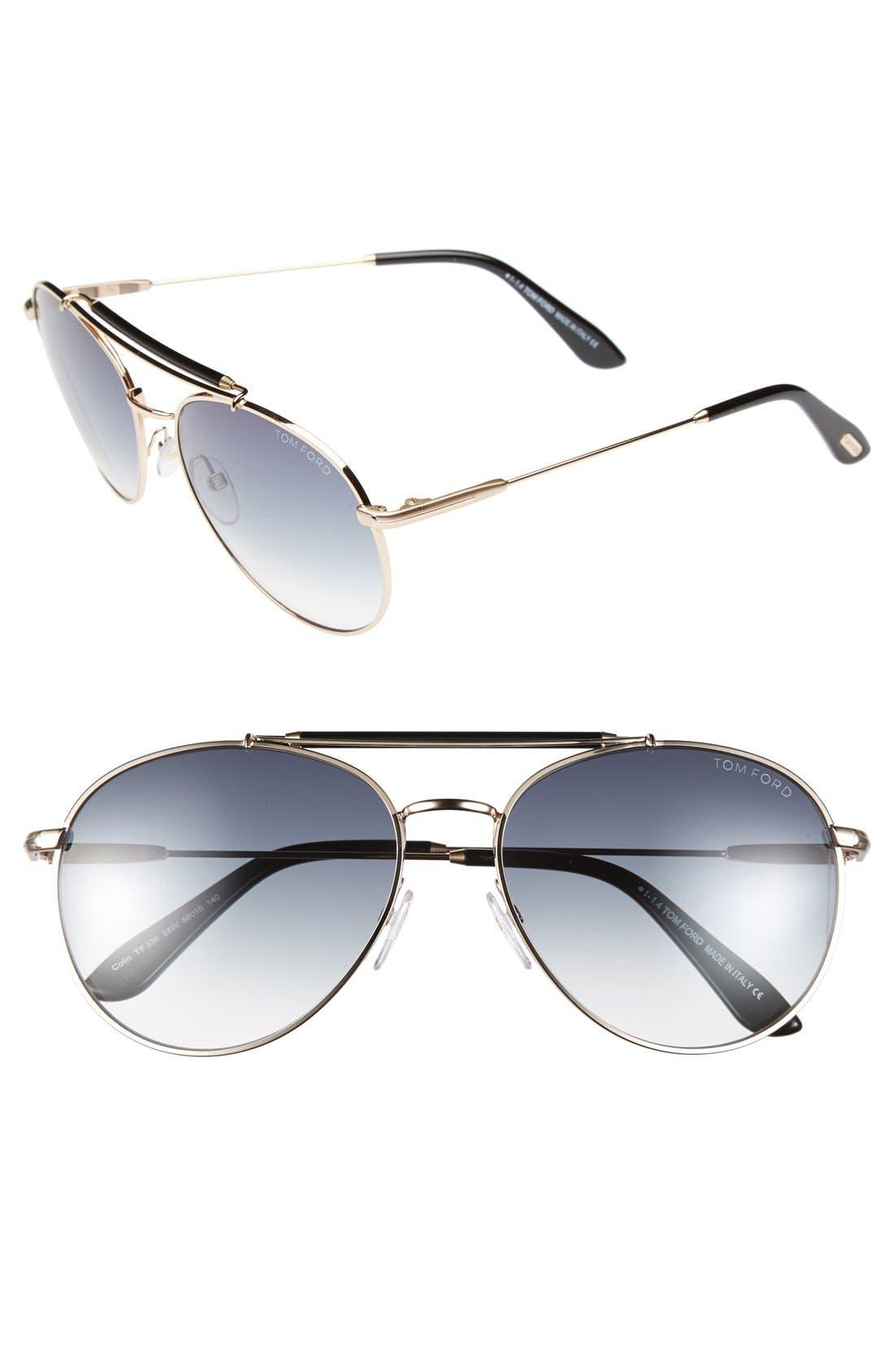 Main Image - Tom Ford 'Colin' 58mm Aviator Sunglasses