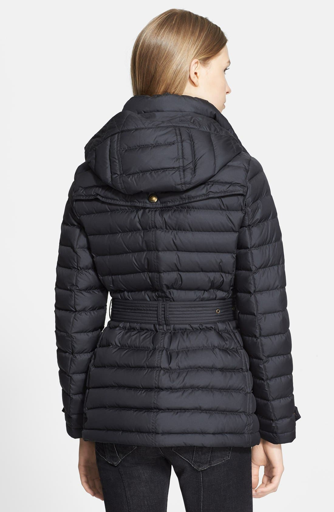 Alternate Image 2  - Burberry Brit 'Cornsdale' Channel Quilt Down Jacket with Hood