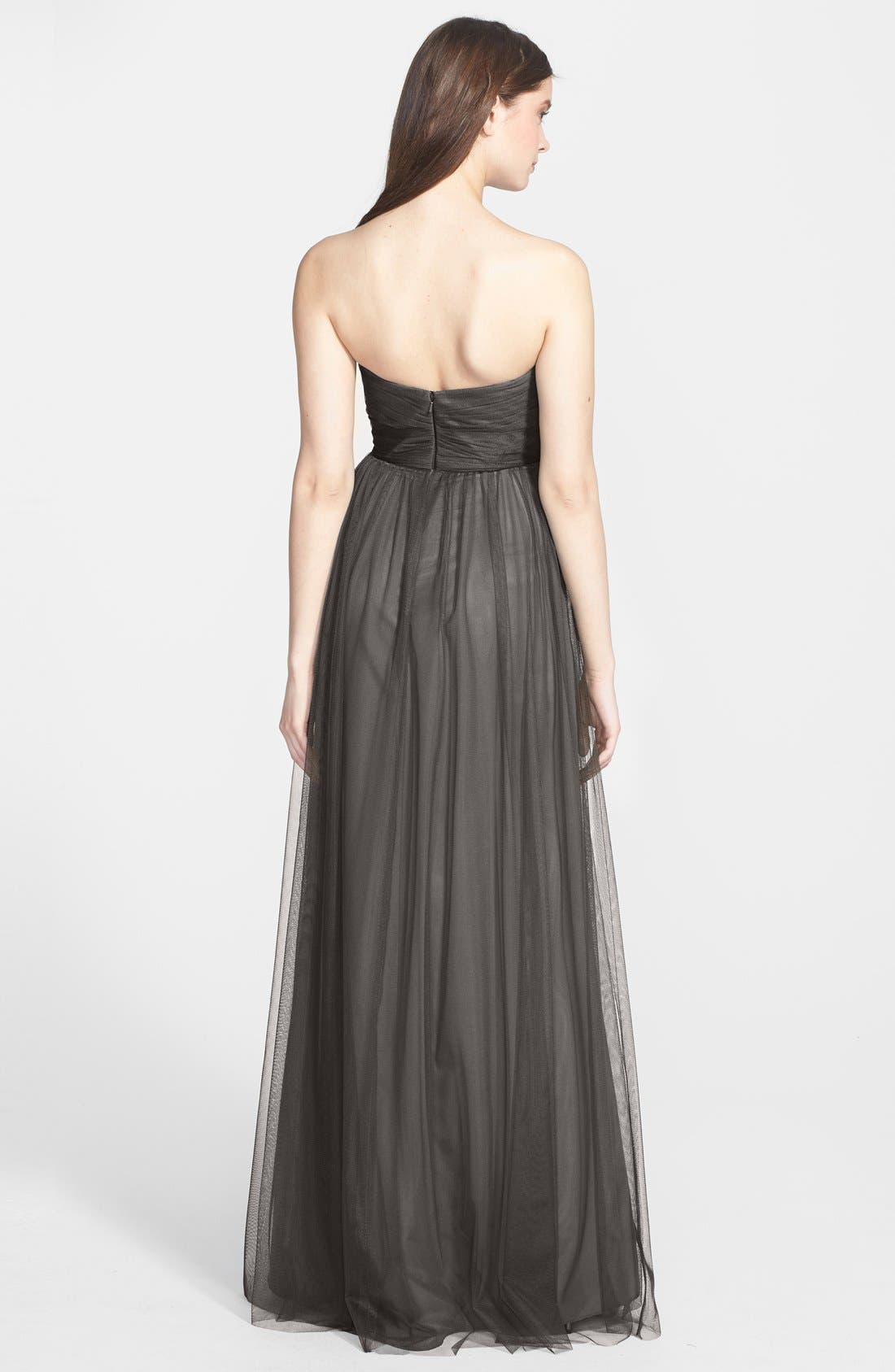 Alternate Image 2  - Amsale Draped Tulle Gown
