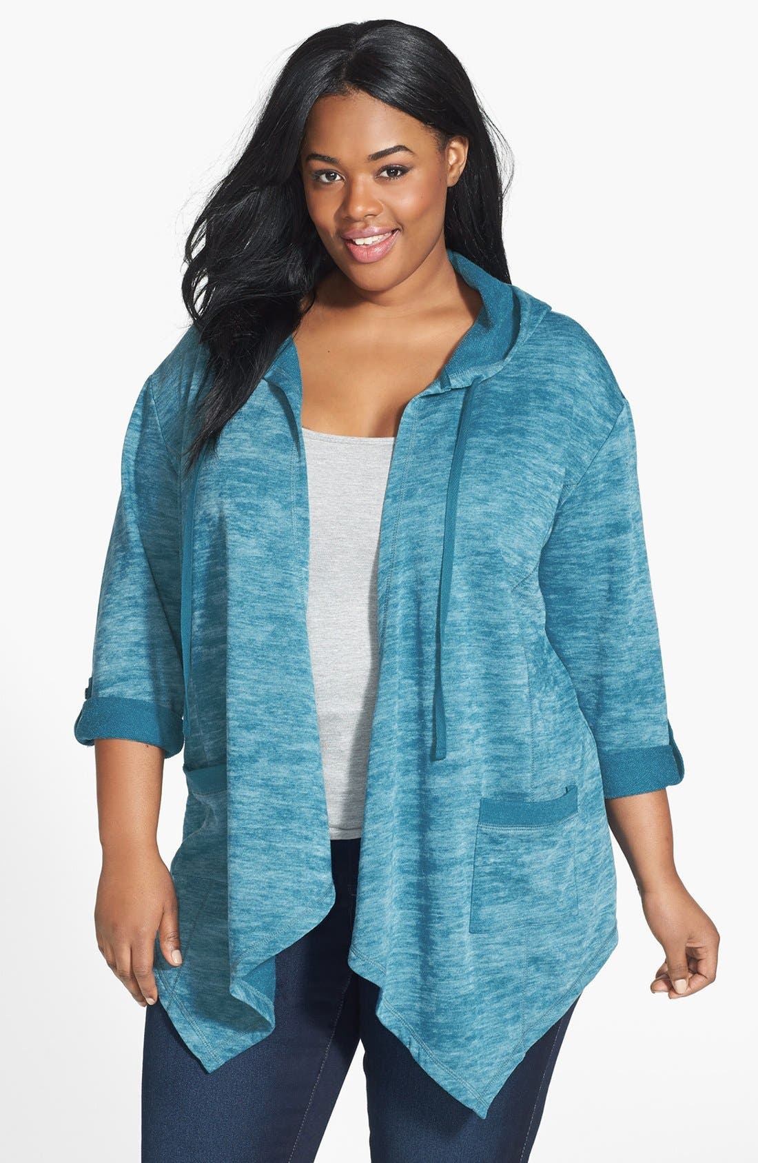 Alternate Image 1 Selected - Sejour Open Drape Front Hoodie (Plus Size)