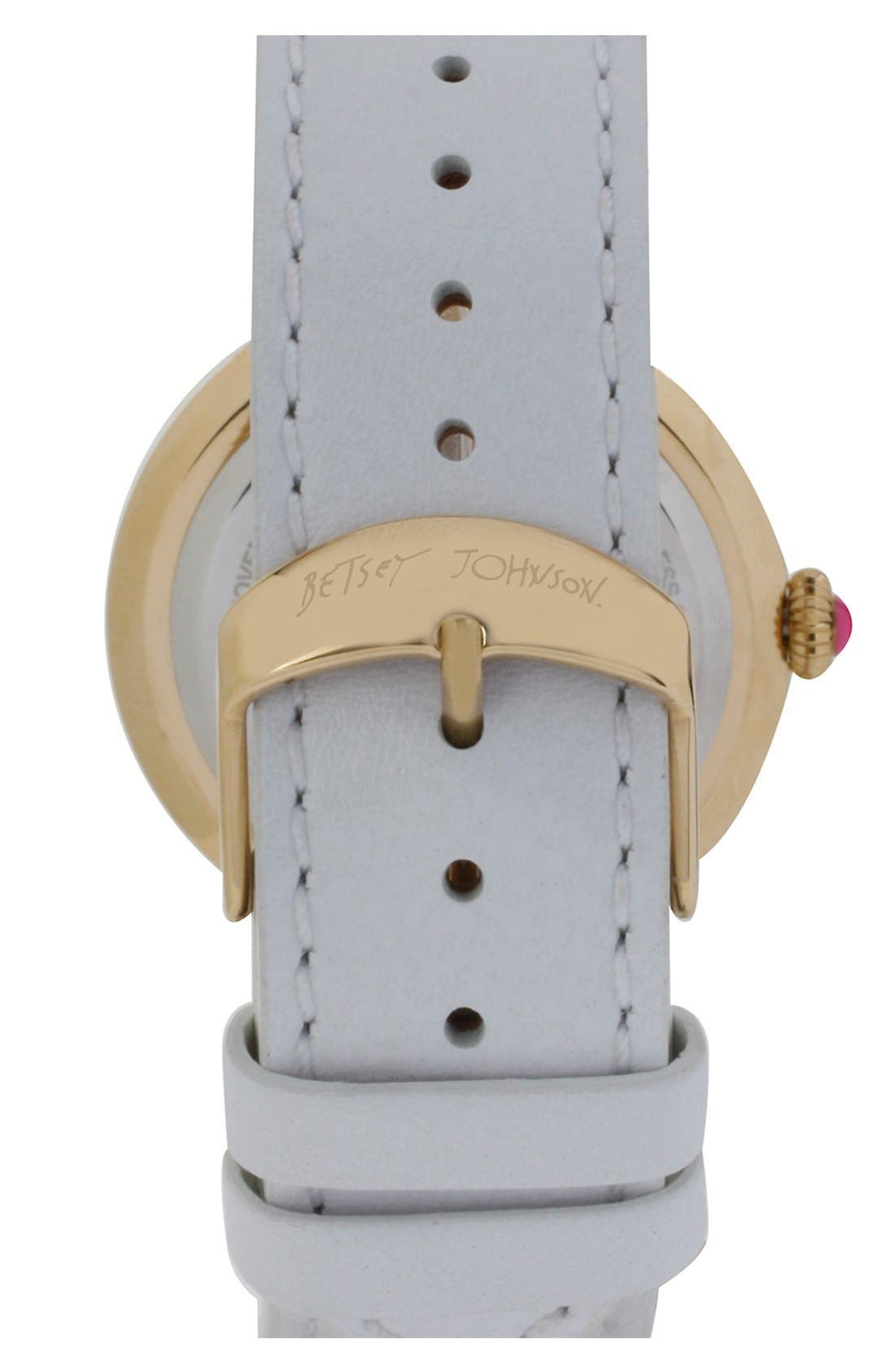 Alternate Image 2  - Betsey Johnson Link & Leather Strap Watch, 38mm