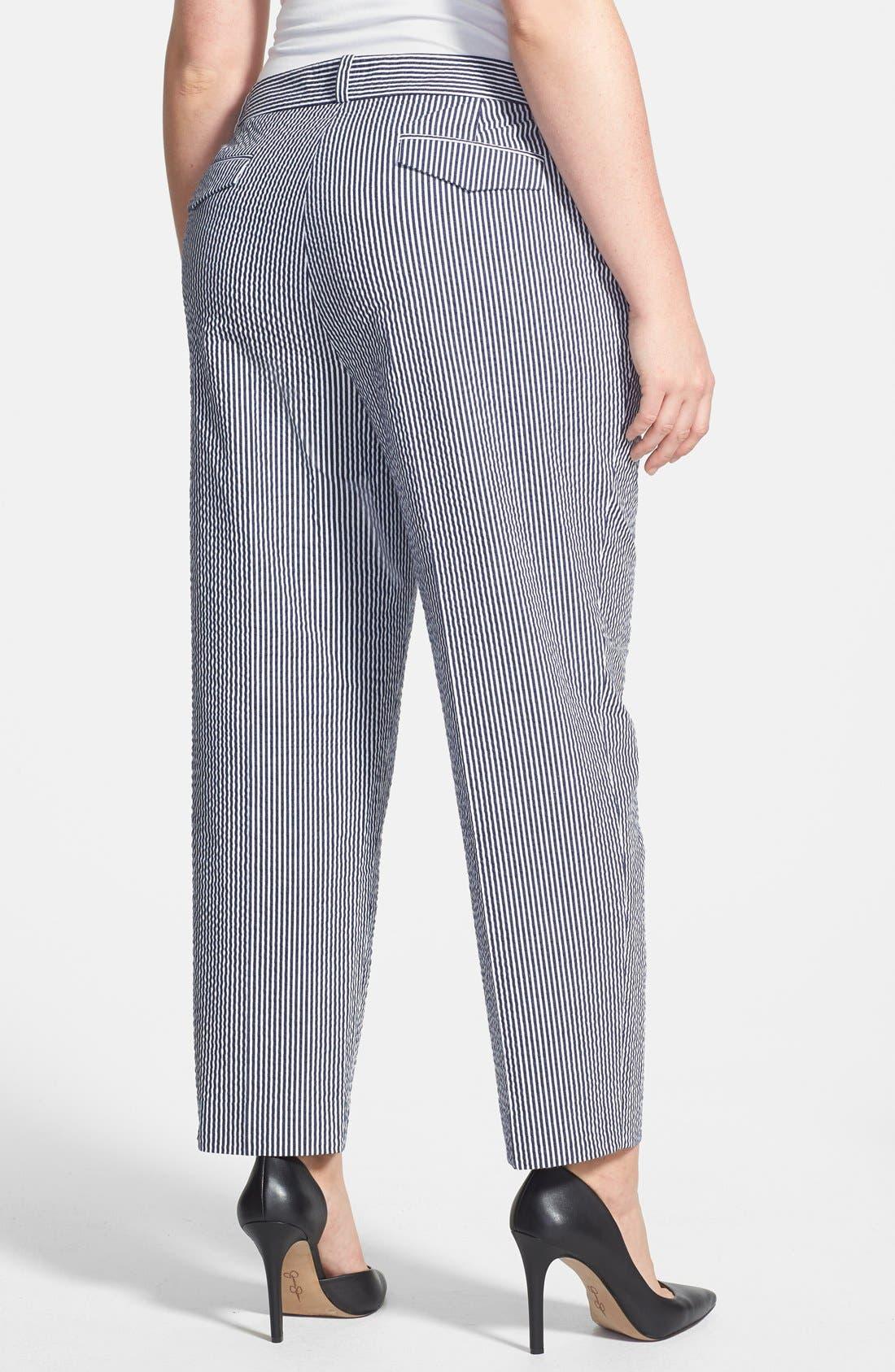 Alternate Image 2  - Anne Klein Seersucker Capri Pants (Plus Size)