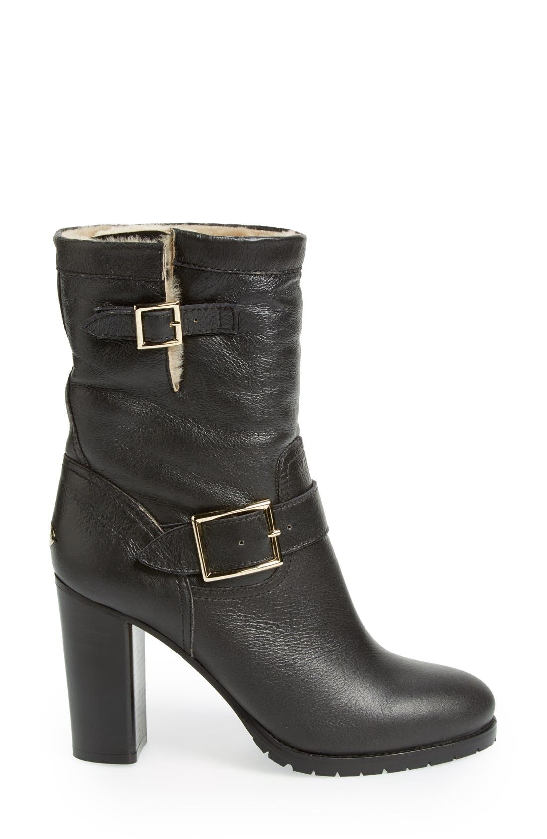 Alternate Image 4  - Jimmy Choo 'Dart' Leather & Genuine Shearling Mid Calf Moto Boot (Women)