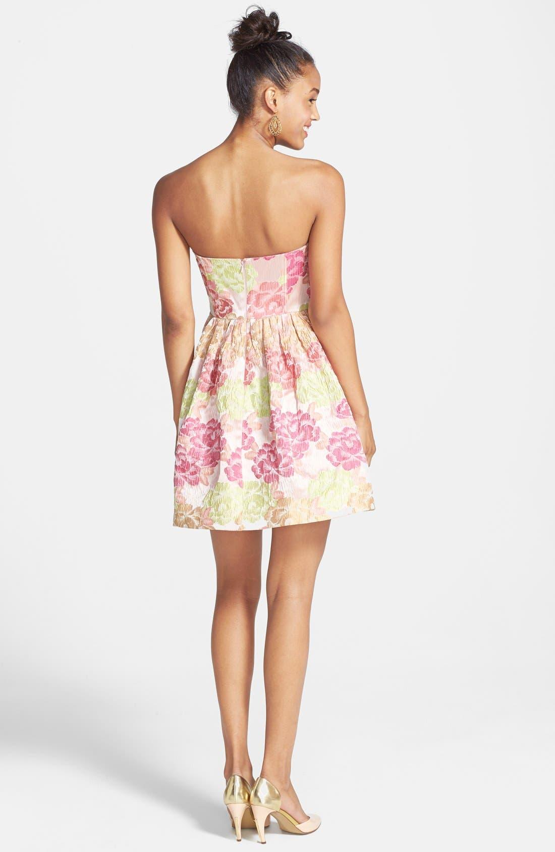 Alternate Image 2  - a. drea 'Ariana' Textured Floral Strapless Dress (Juniors)