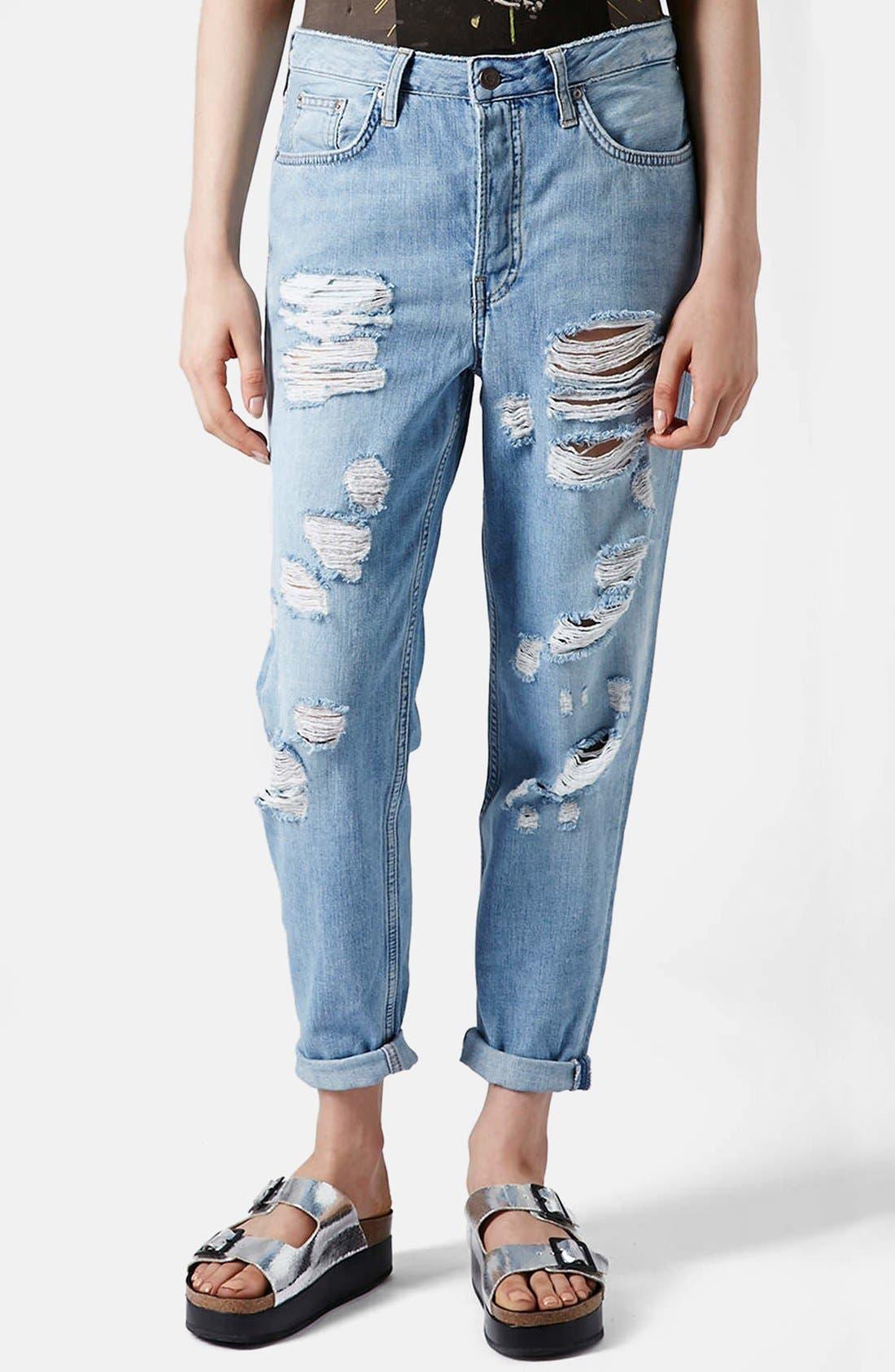 Alternate Image 1 Selected - Topshop Moto Destroyed Boyfriend Jeans (Light Denim)