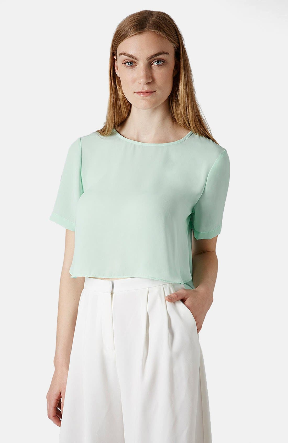 Alternate Image 1 Selected - Topshop 'Pasha' Side Split Crop Tee