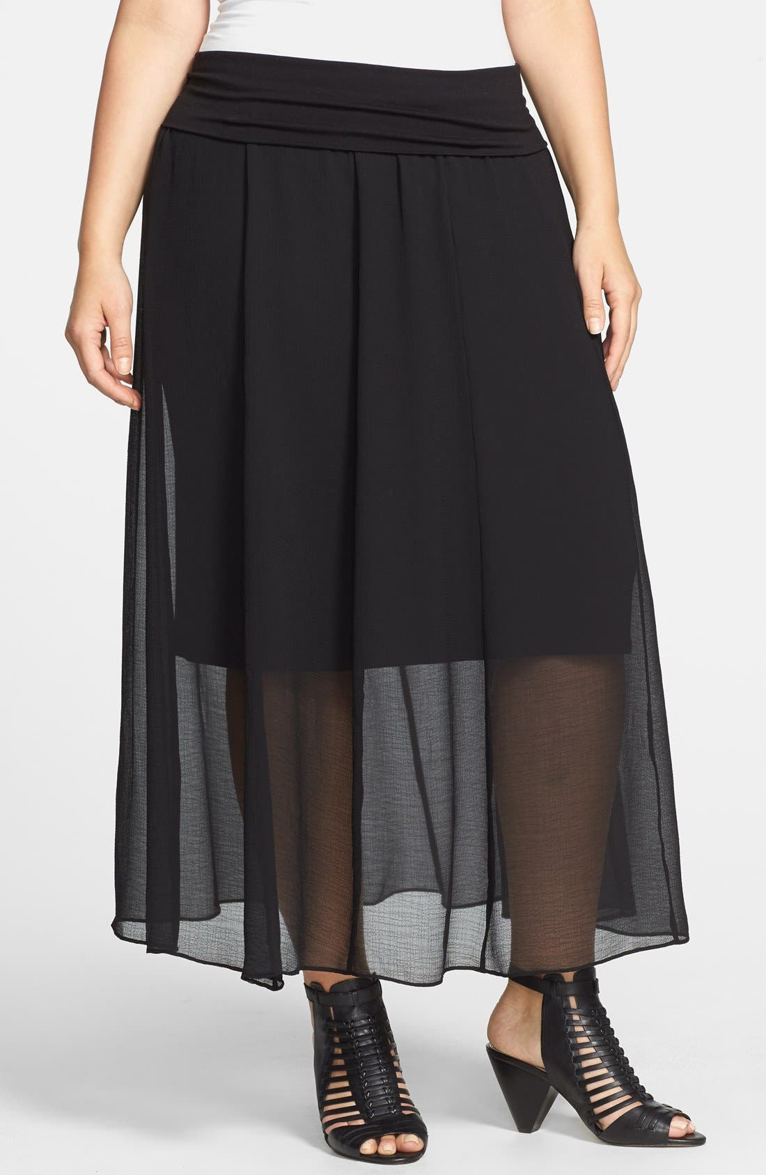 Main Image - Vince Camuto Sheer Pleat Maxi Skirt (Plus Size)