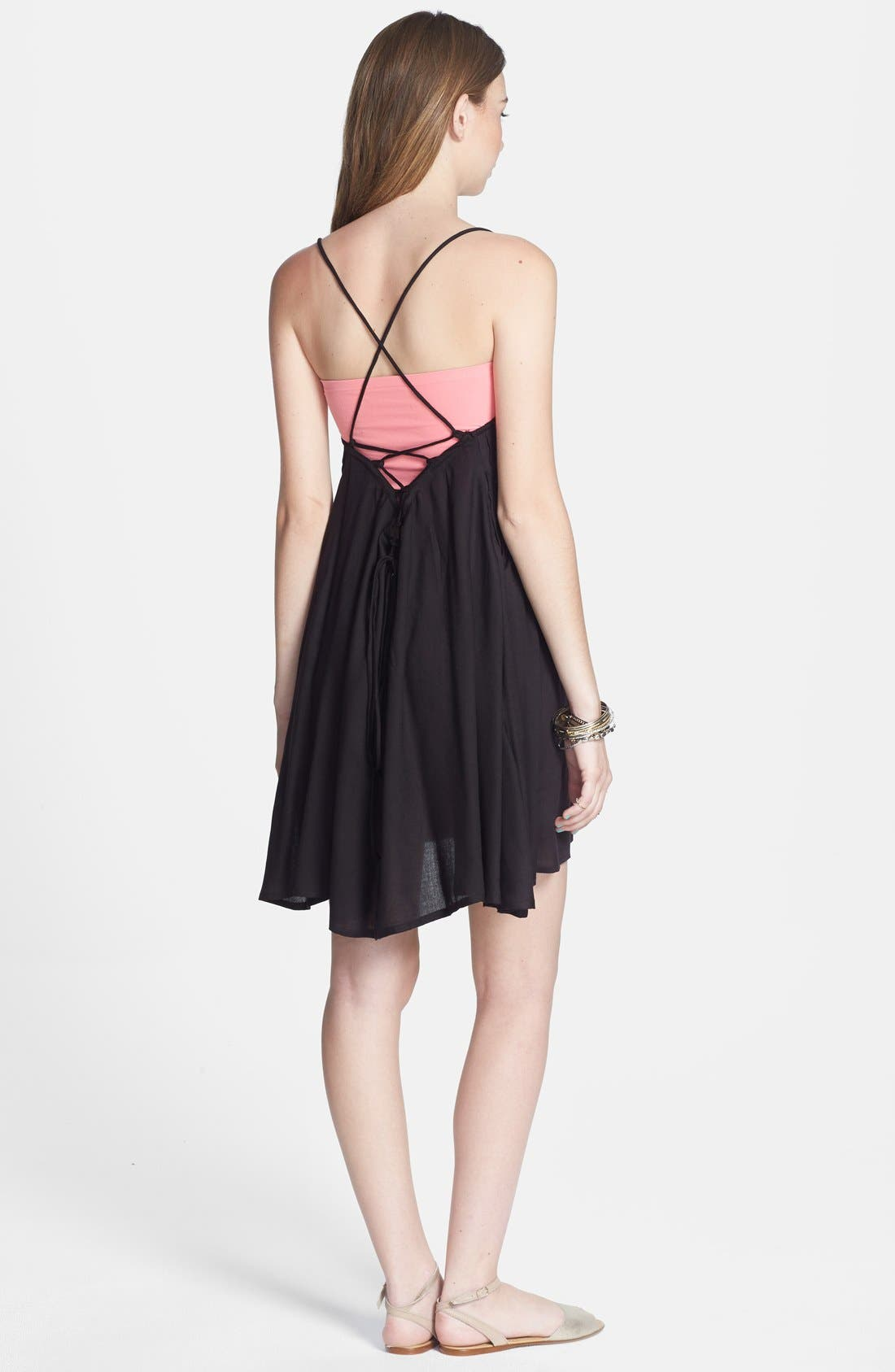 Alternate Image 2  - RVCA 'Told Secrets' Pintucked Lace Up Dress